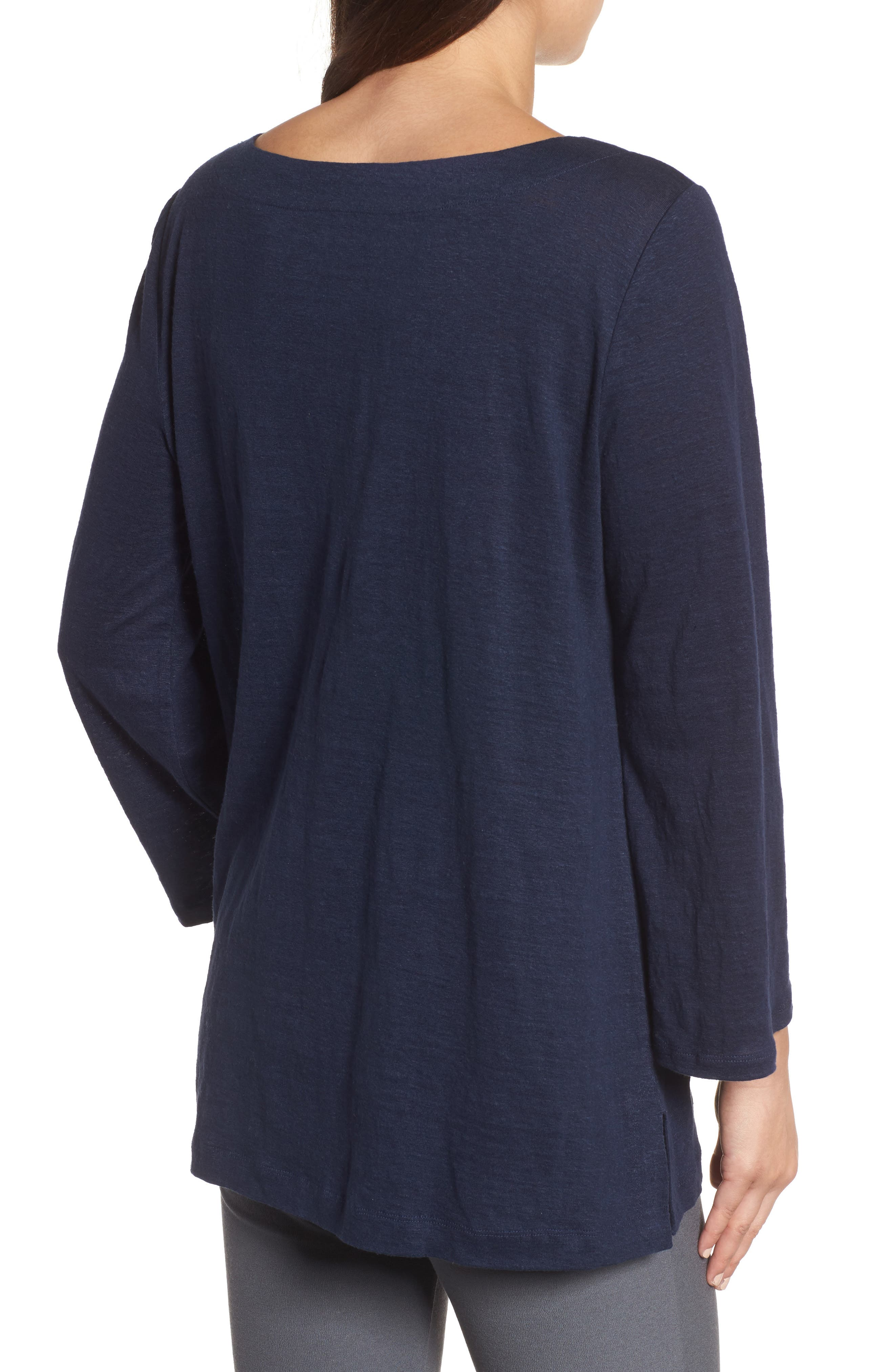 Organic Linen Bateau Neck Top,                             Alternate thumbnail 2, color,                             Midnight