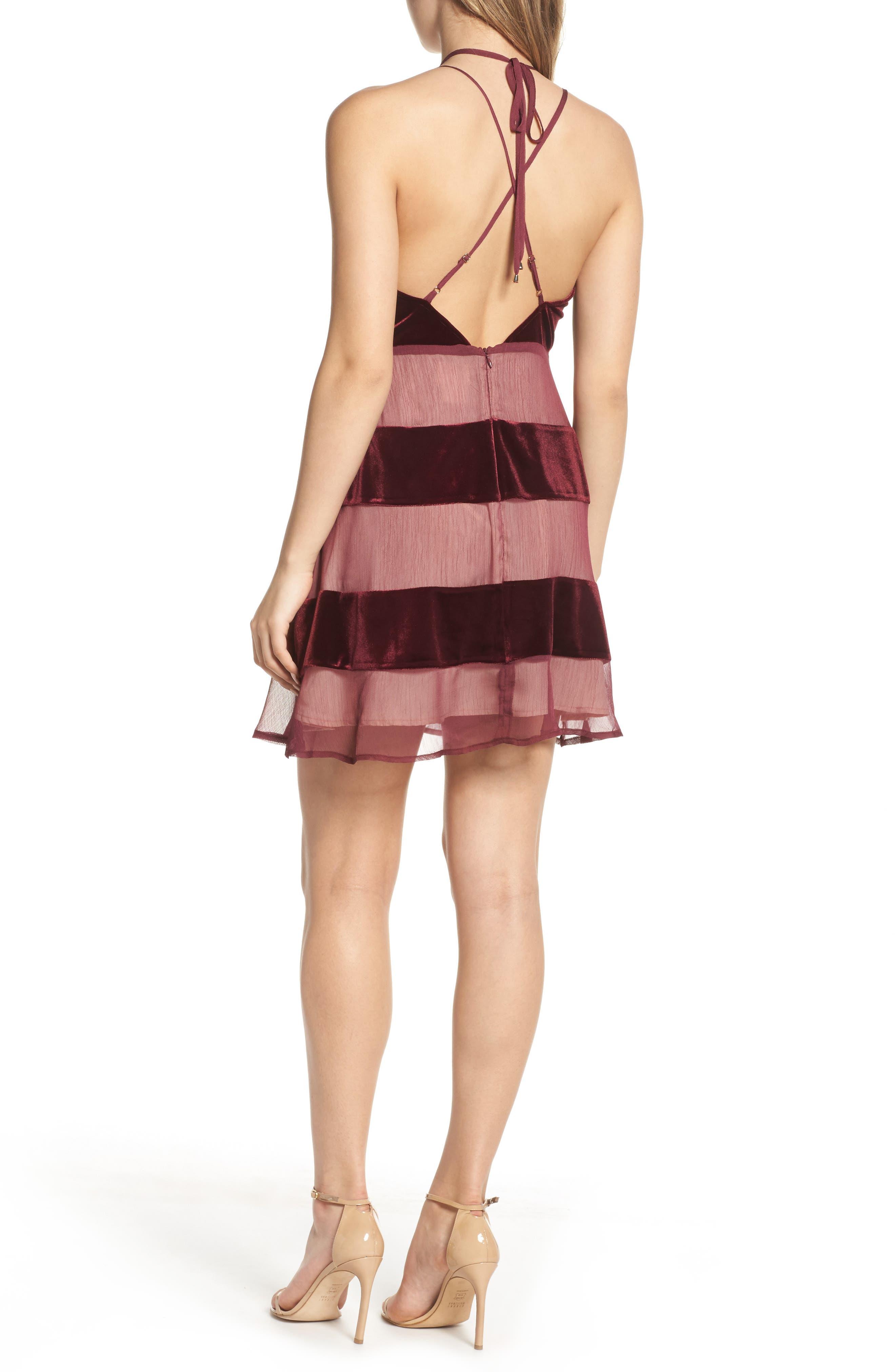 Alternate Image 2  - Foxiedox Dante Velvet & Gauze Halter Dress