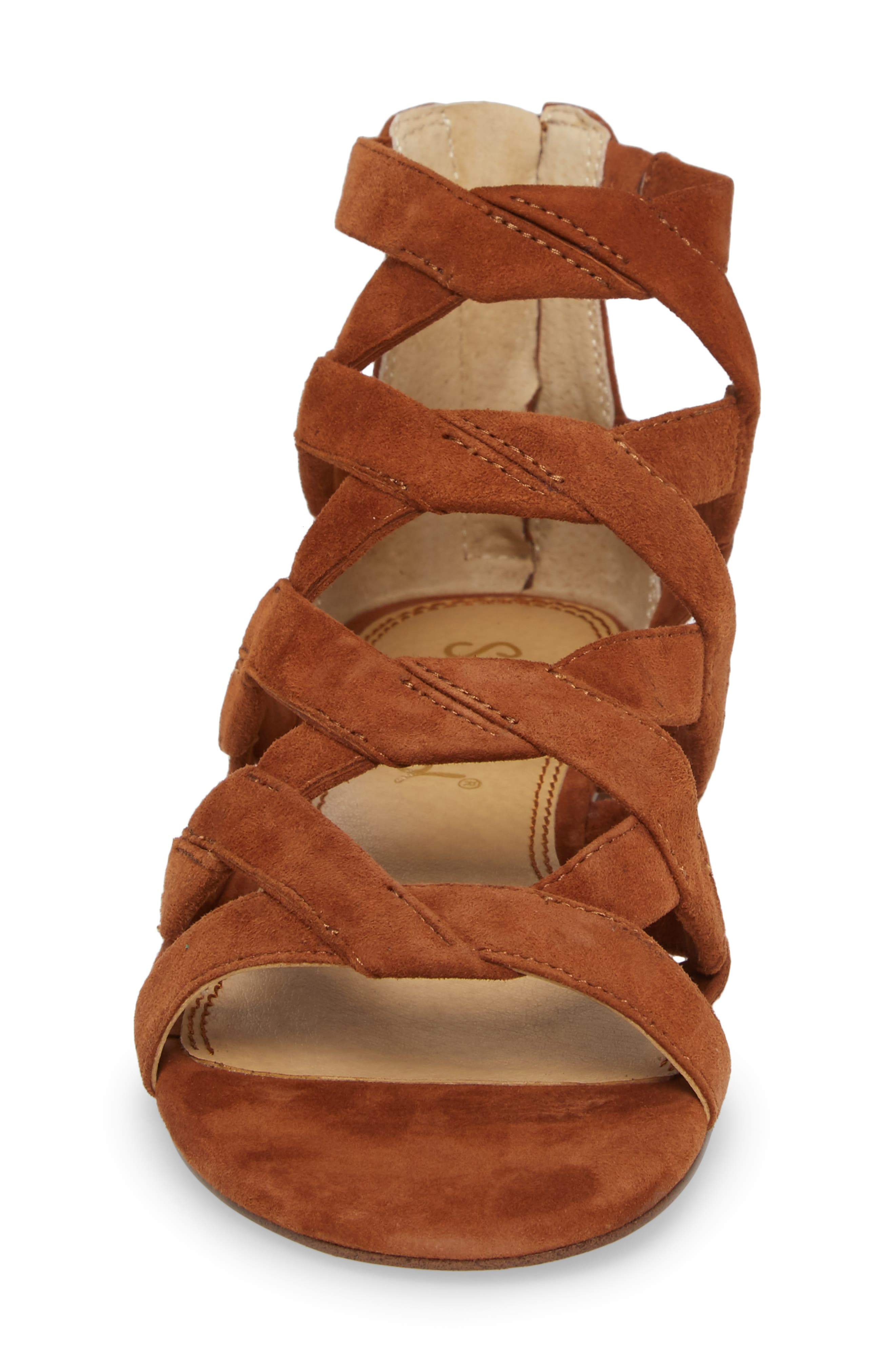 Barrett Mid Top Cage Sandal,                             Alternate thumbnail 4, color,                             Caramel Suede