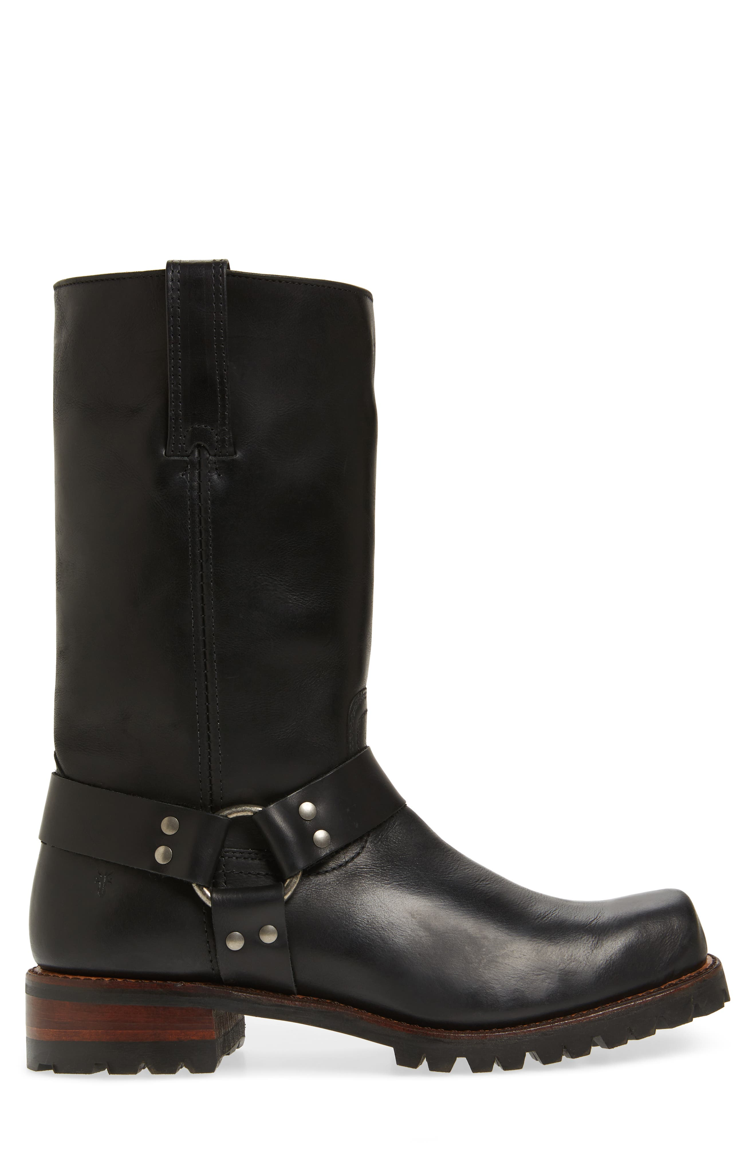 Addison Waterproof Harness Boot,                             Alternate thumbnail 3, color,                             Black Leather