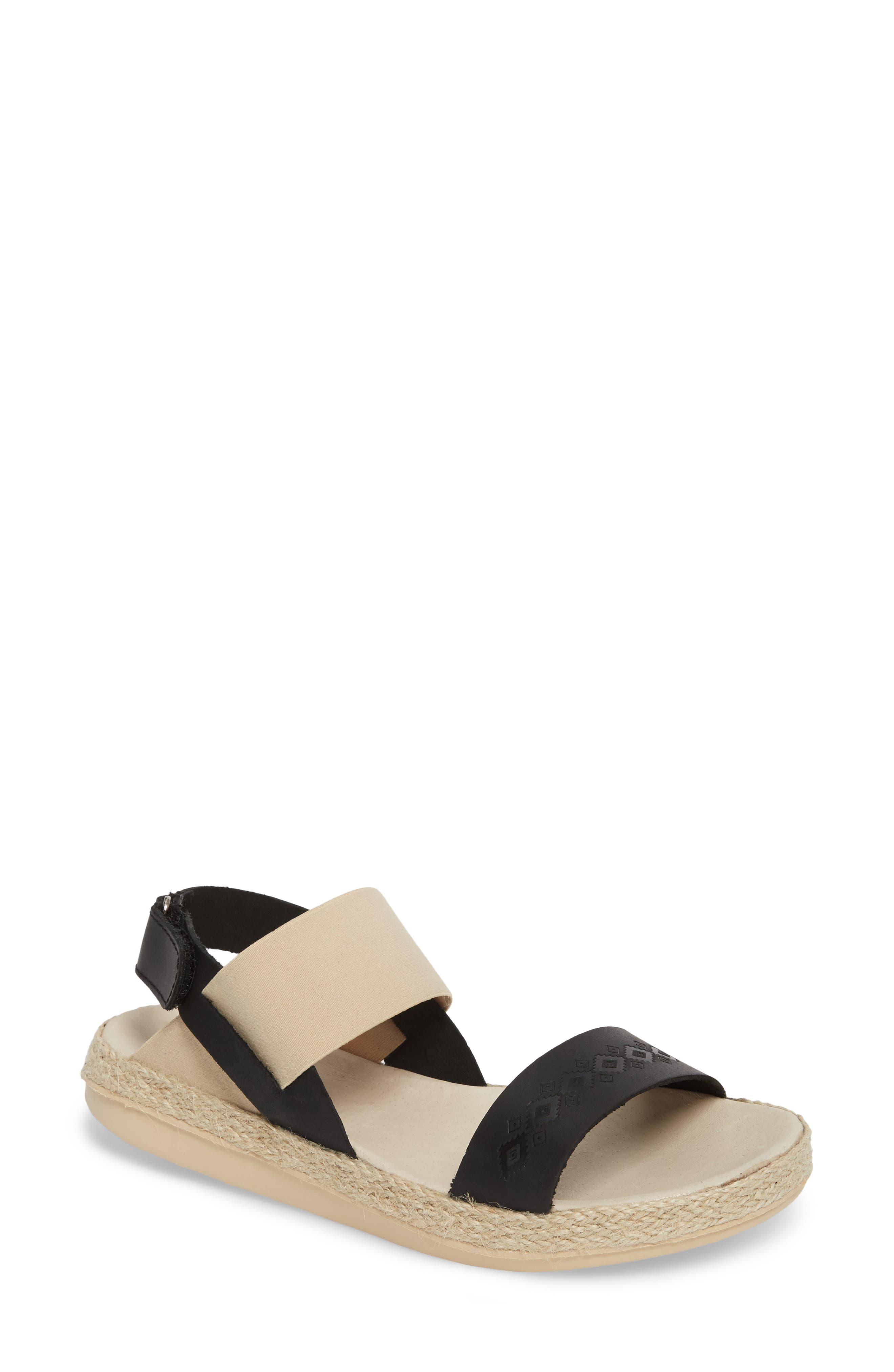 Tobermory Sandal,                             Main thumbnail 1, color,                             Black Leather