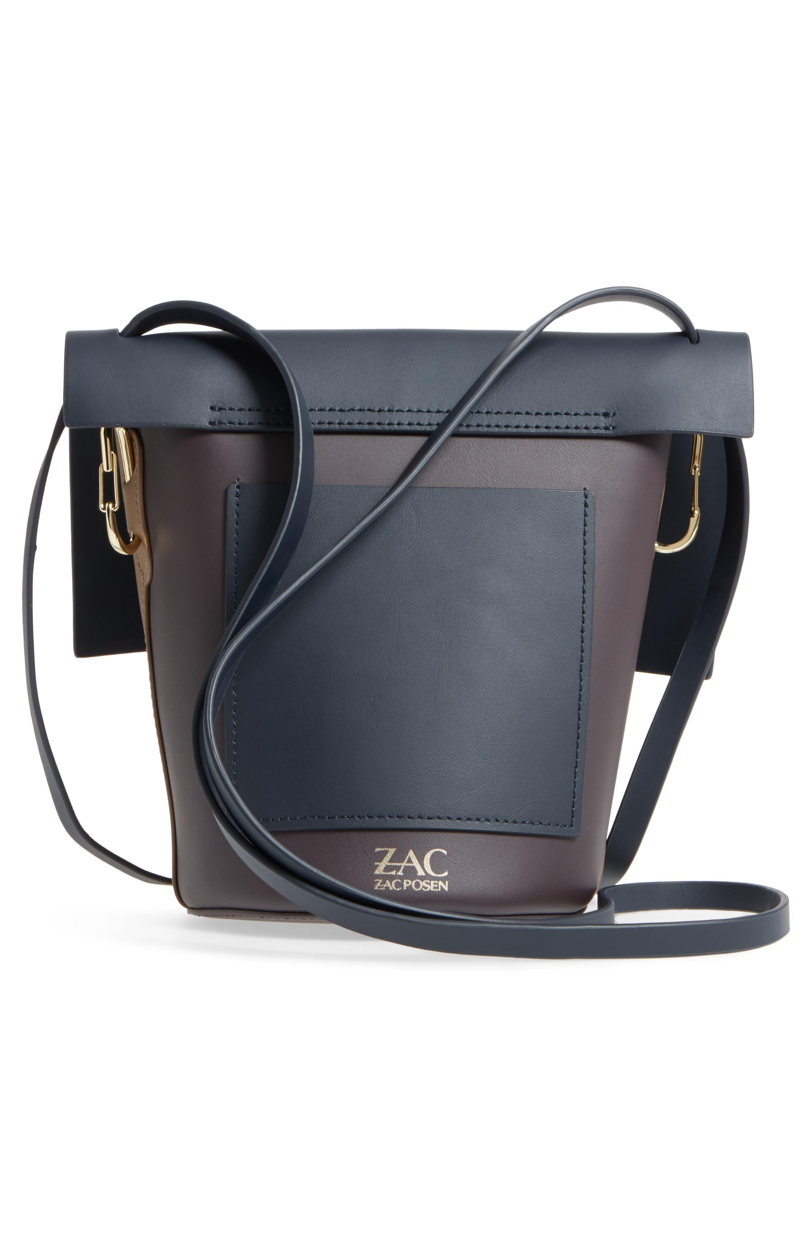 Belay Colorblock Calfskin Leather Crossbody Bucket Bag,                             Alternate thumbnail 3, color,                             Navy