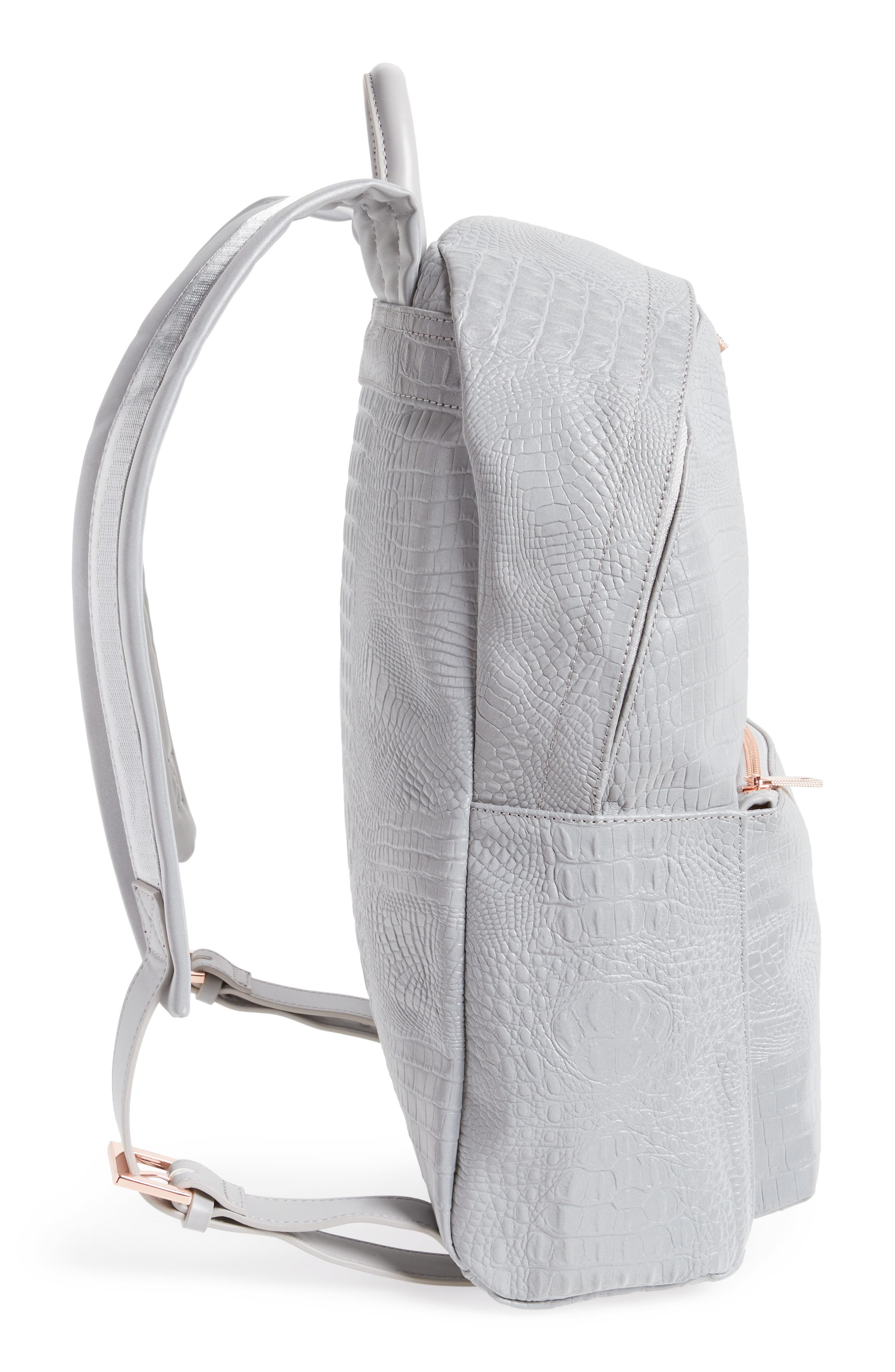 Alternate Image 5  - Ted Baker London Rahri Reflective Croc Embossed Faux Leather Backpack