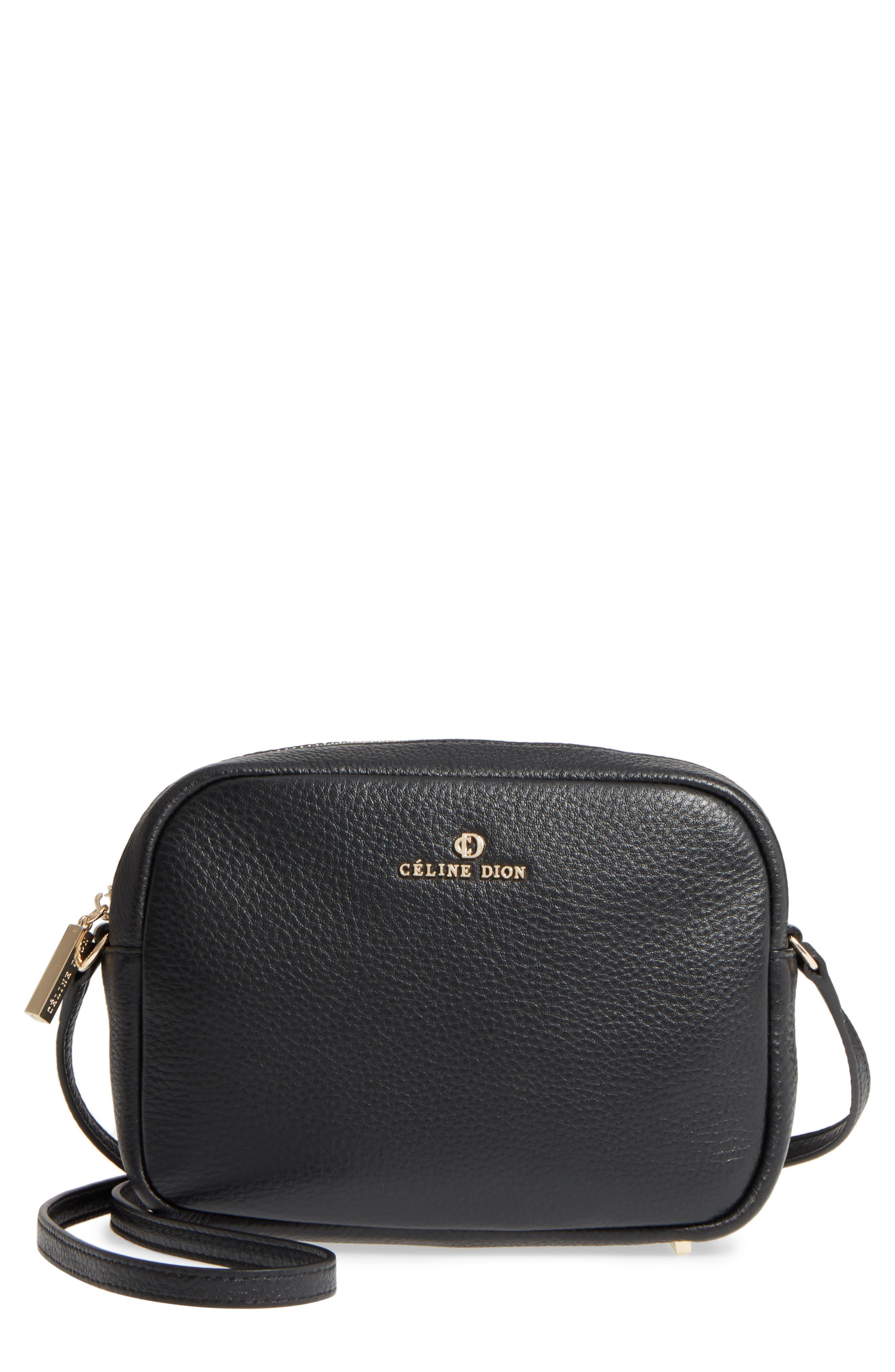 Céline Dion Adagio Leather Camera Crossbody Bag,                             Main thumbnail 1, color,                             Black