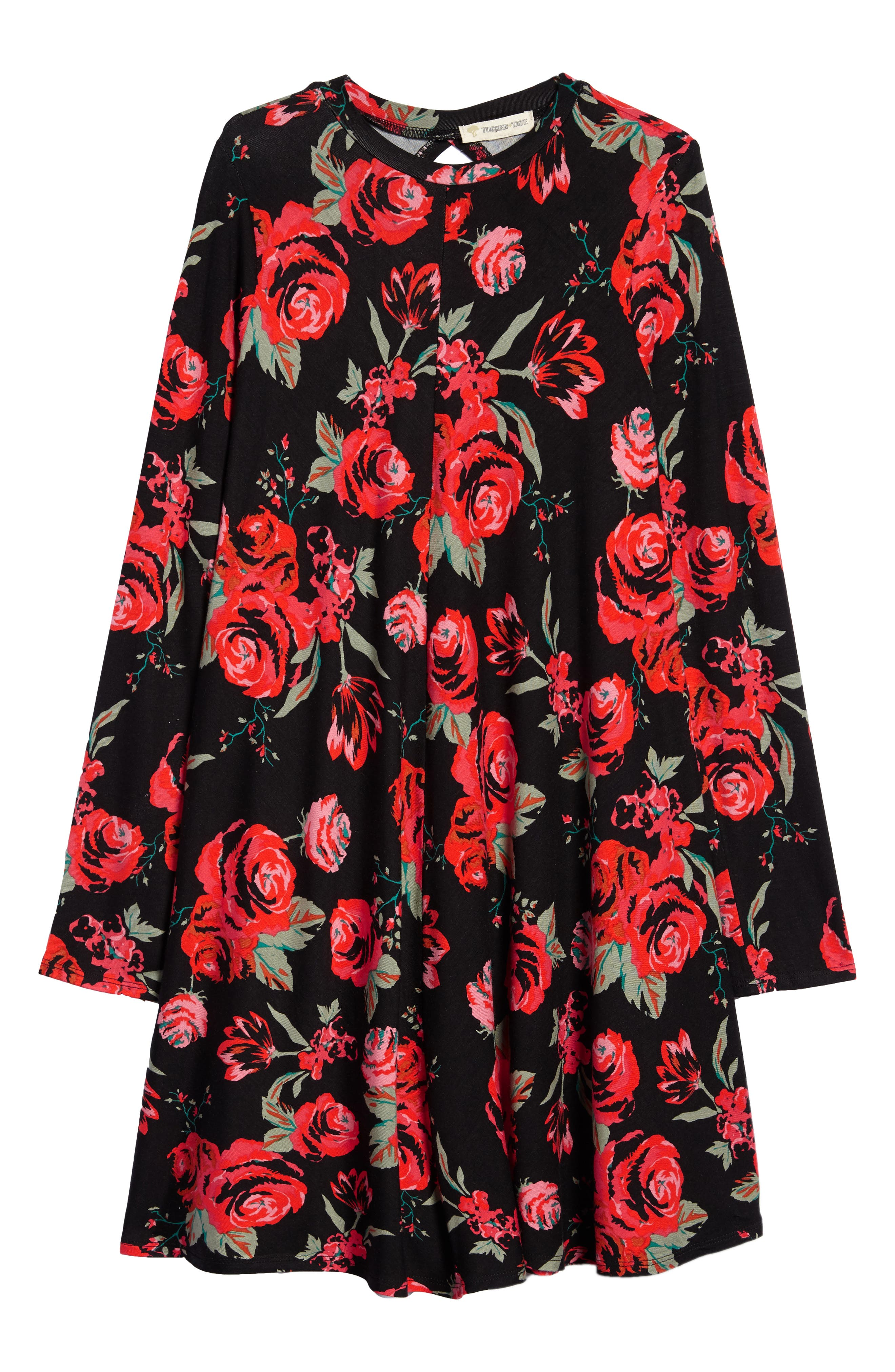 Main Image - Tucker + Tate Floral Print Knit A-Line Dress (Big Girls)