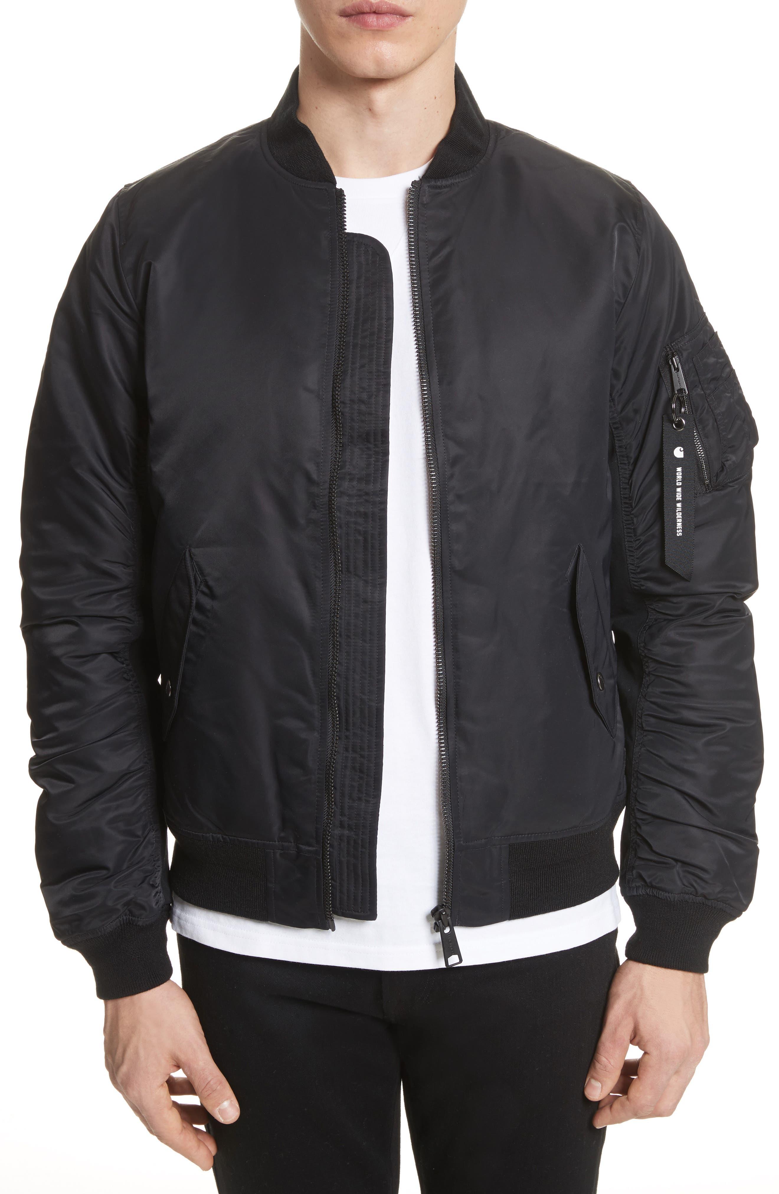 Ashton Bomber Jacket,                             Main thumbnail 1, color,                             Black/ Black