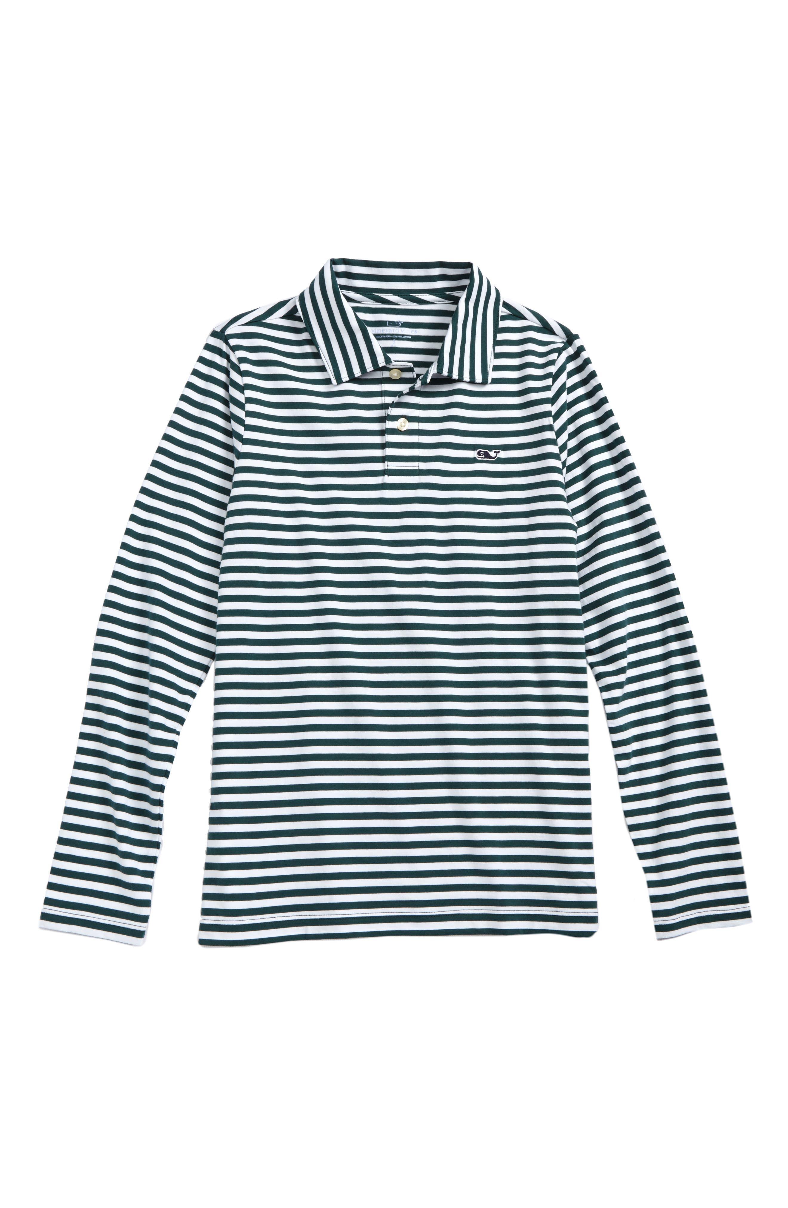 Stripe Long Sleeve Polo,                         Main,                         color, Charleston Green