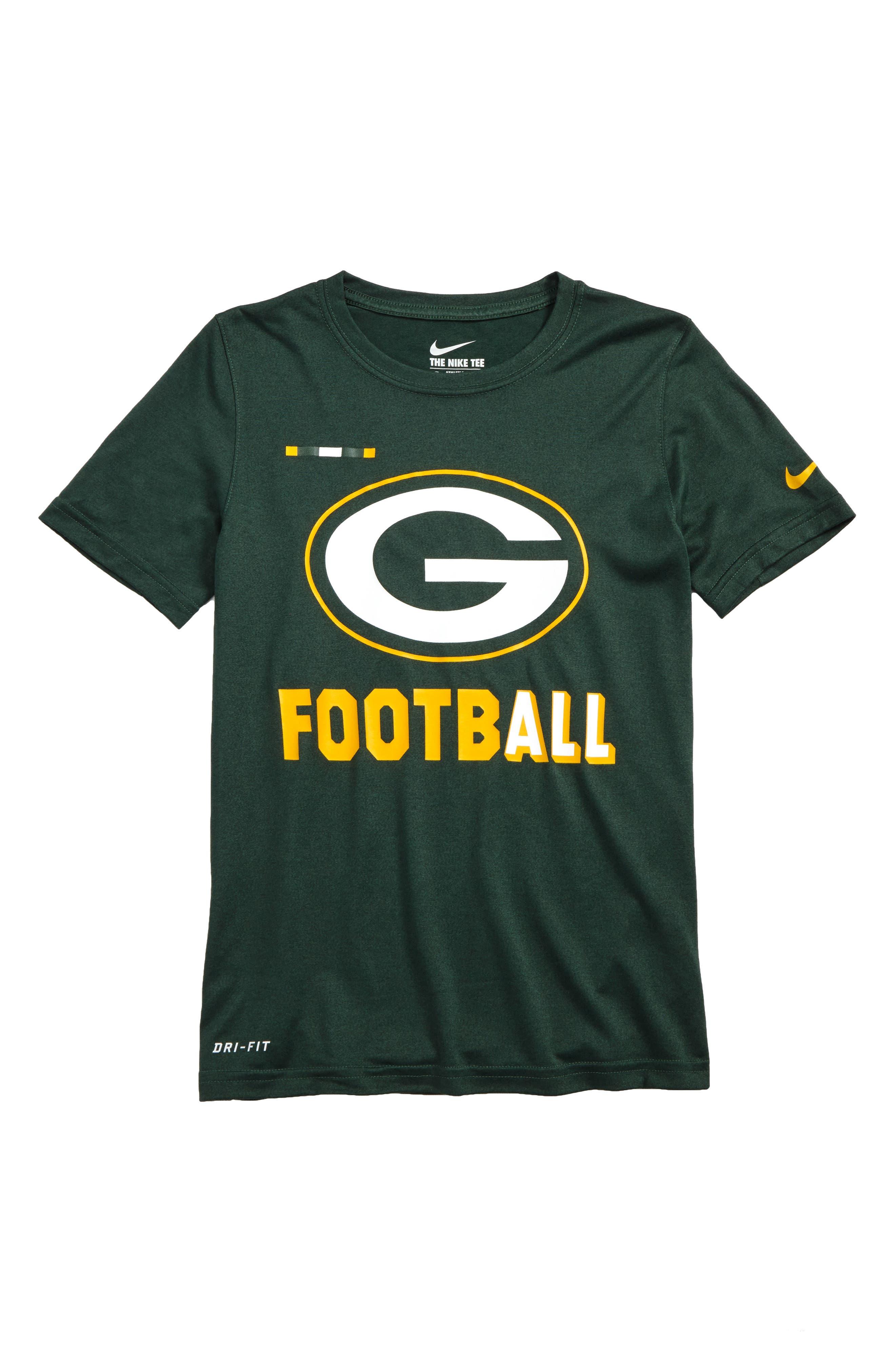 Nike NFL Logo - Green Bay Packers Dry T-Shirt,                             Main thumbnail 1, color,                             Fir