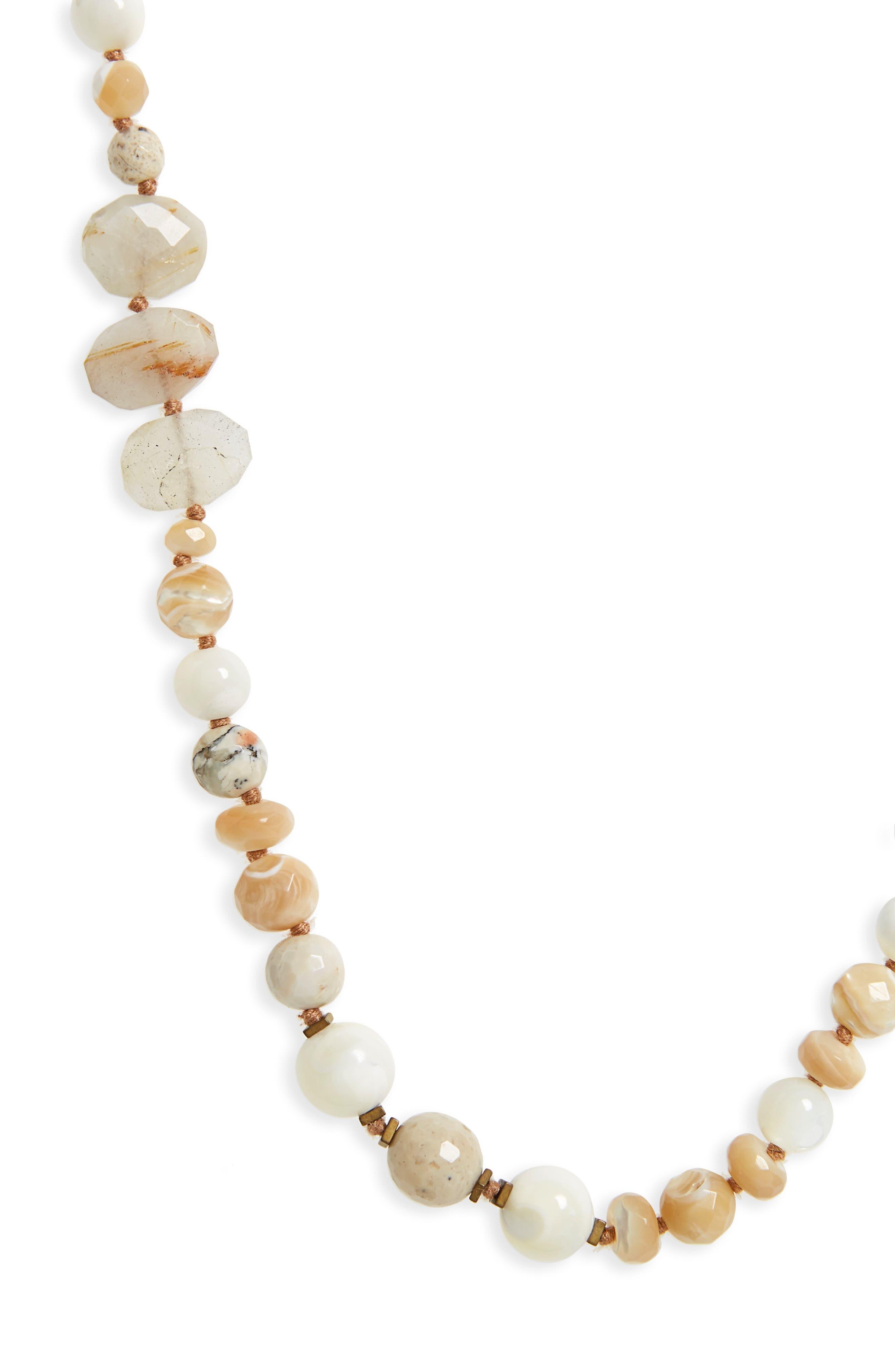 Semiprecious Stone Strand Necklace,                             Alternate thumbnail 2, color,                             White
