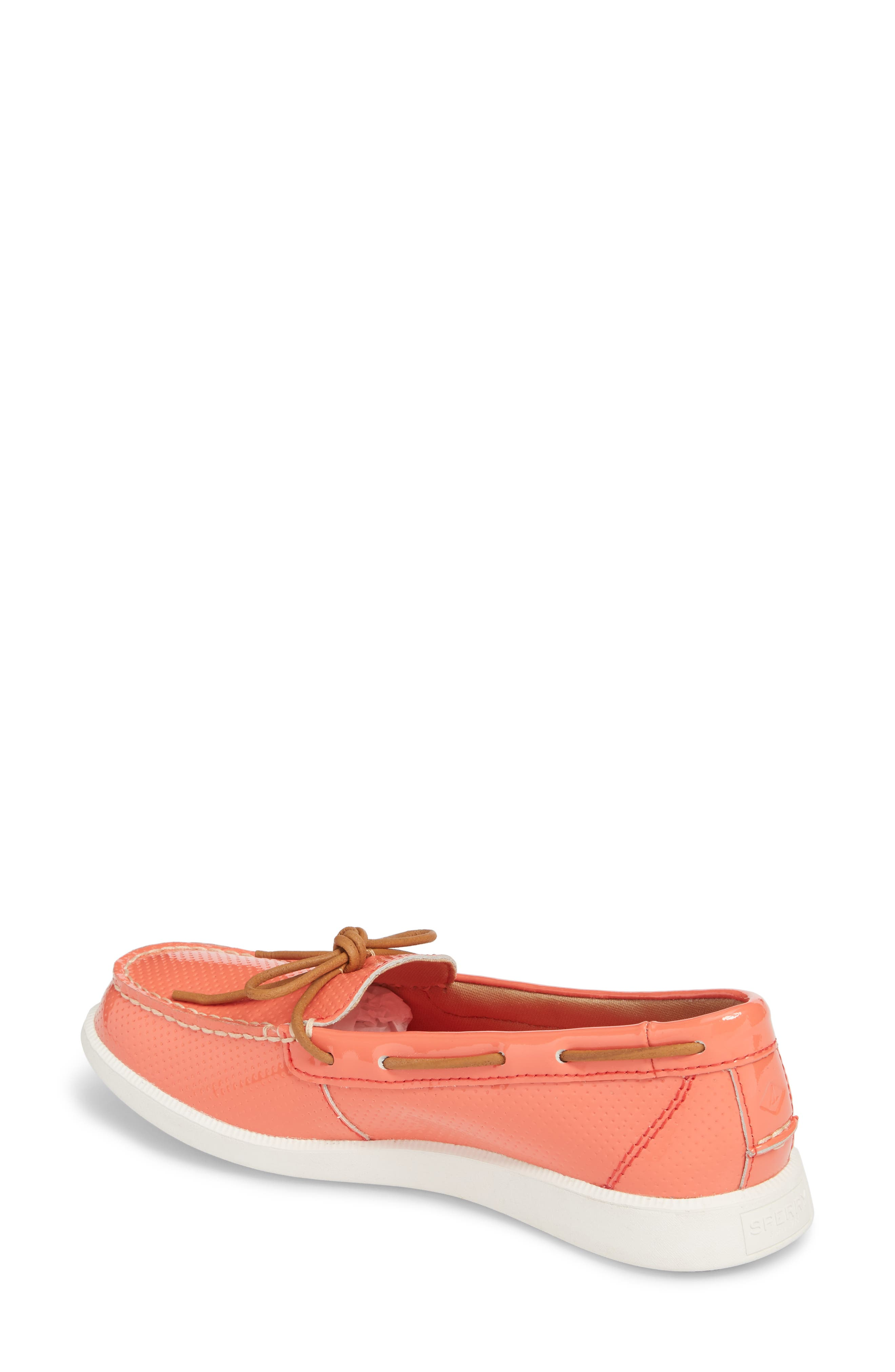 Oasis Boat Shoe,                             Alternate thumbnail 2, color,                             Coral Patent Leather