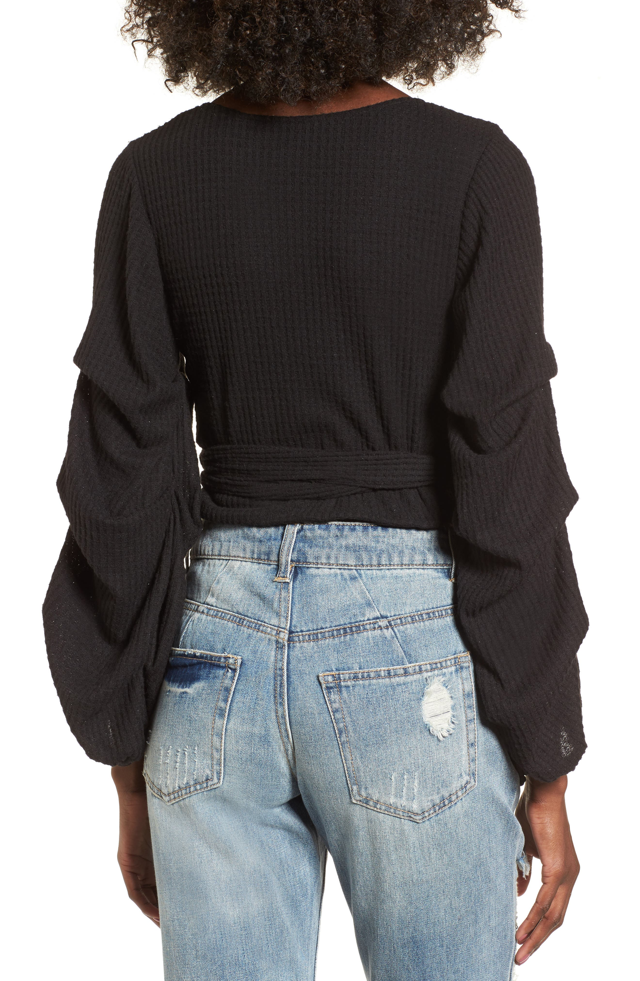 Wrap Sweater,                             Alternate thumbnail 2, color,                             Black