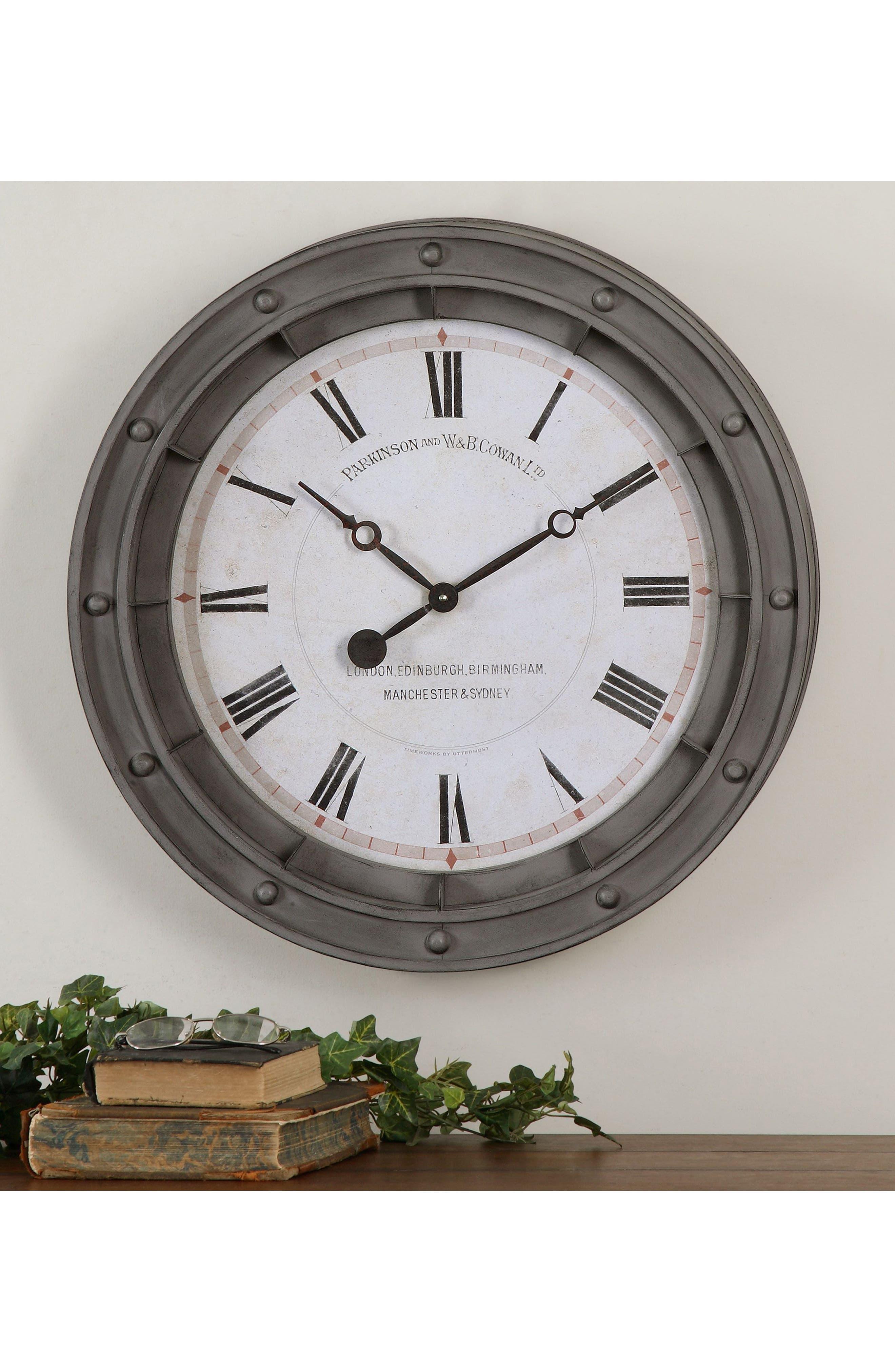 Porthole Wall Clock,                             Alternate thumbnail 2, color,                             Grey