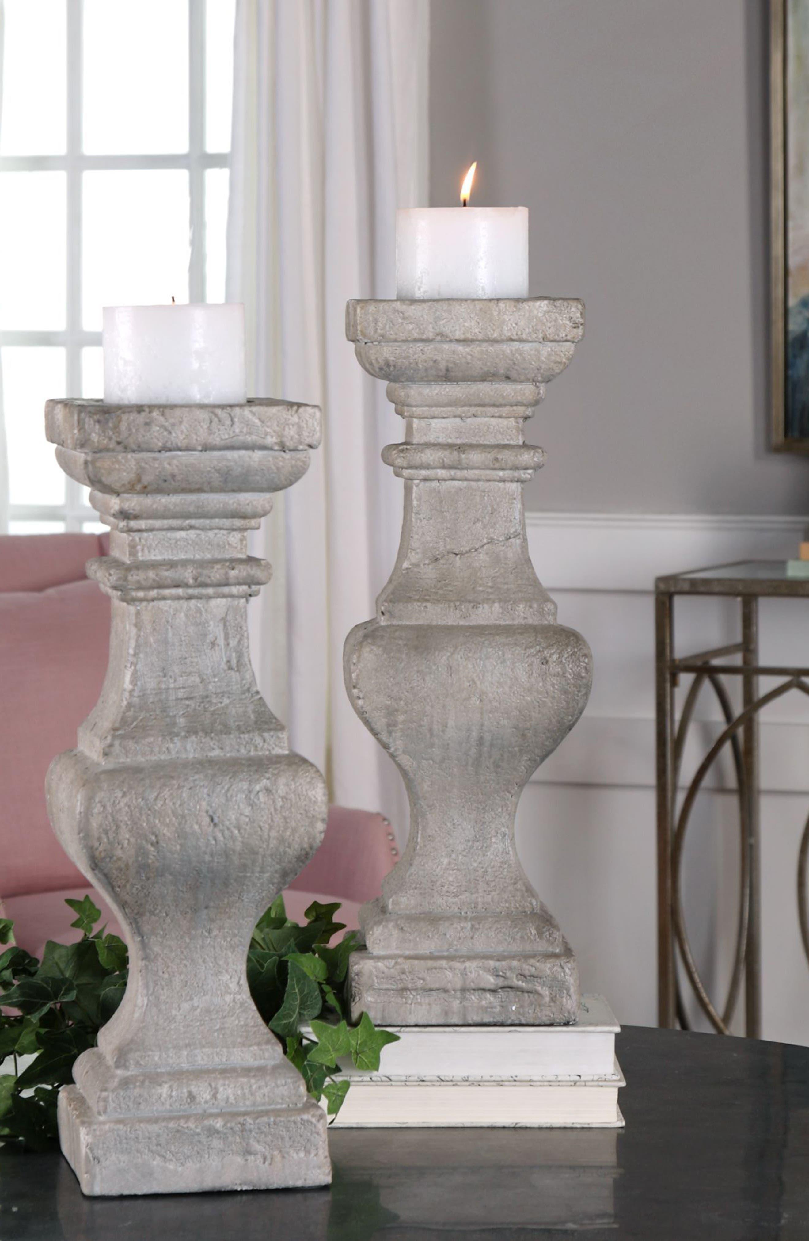 Corin Set of 2 Candleholders,                             Alternate thumbnail 2, color,                             Ivory