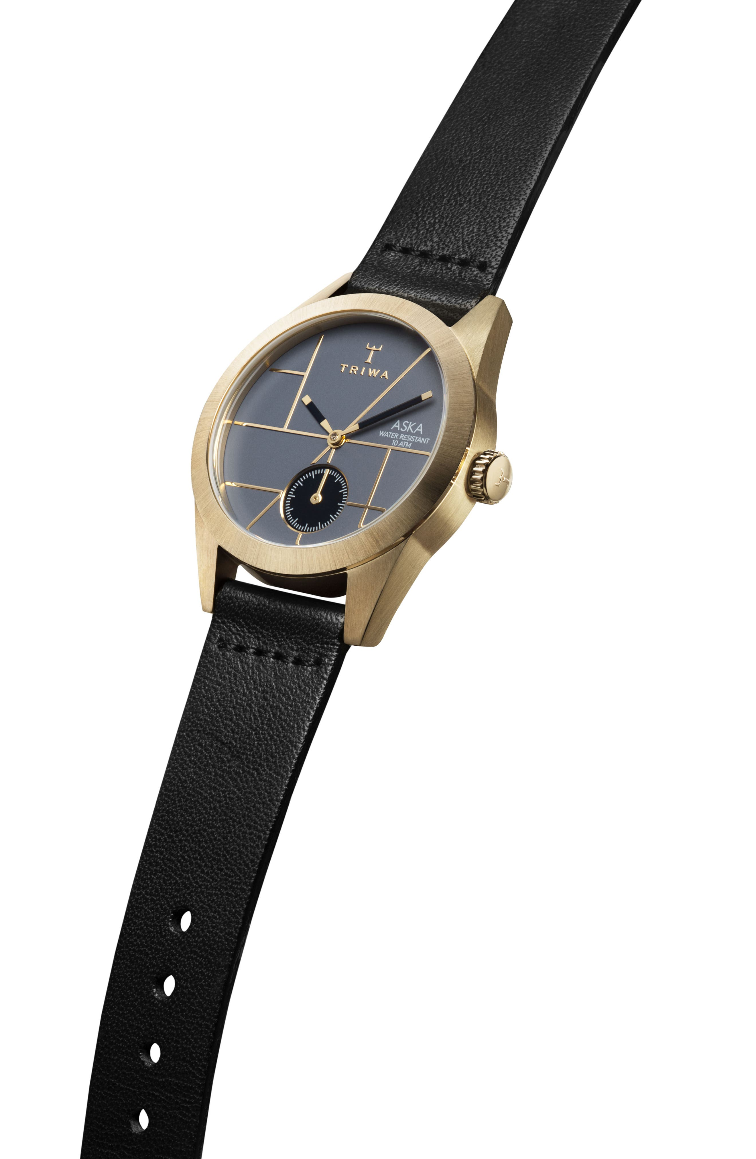 Blues Aska Leather Strap Watch, 32mm,                             Alternate thumbnail 2, color,                             Black/ Blue/ Gold