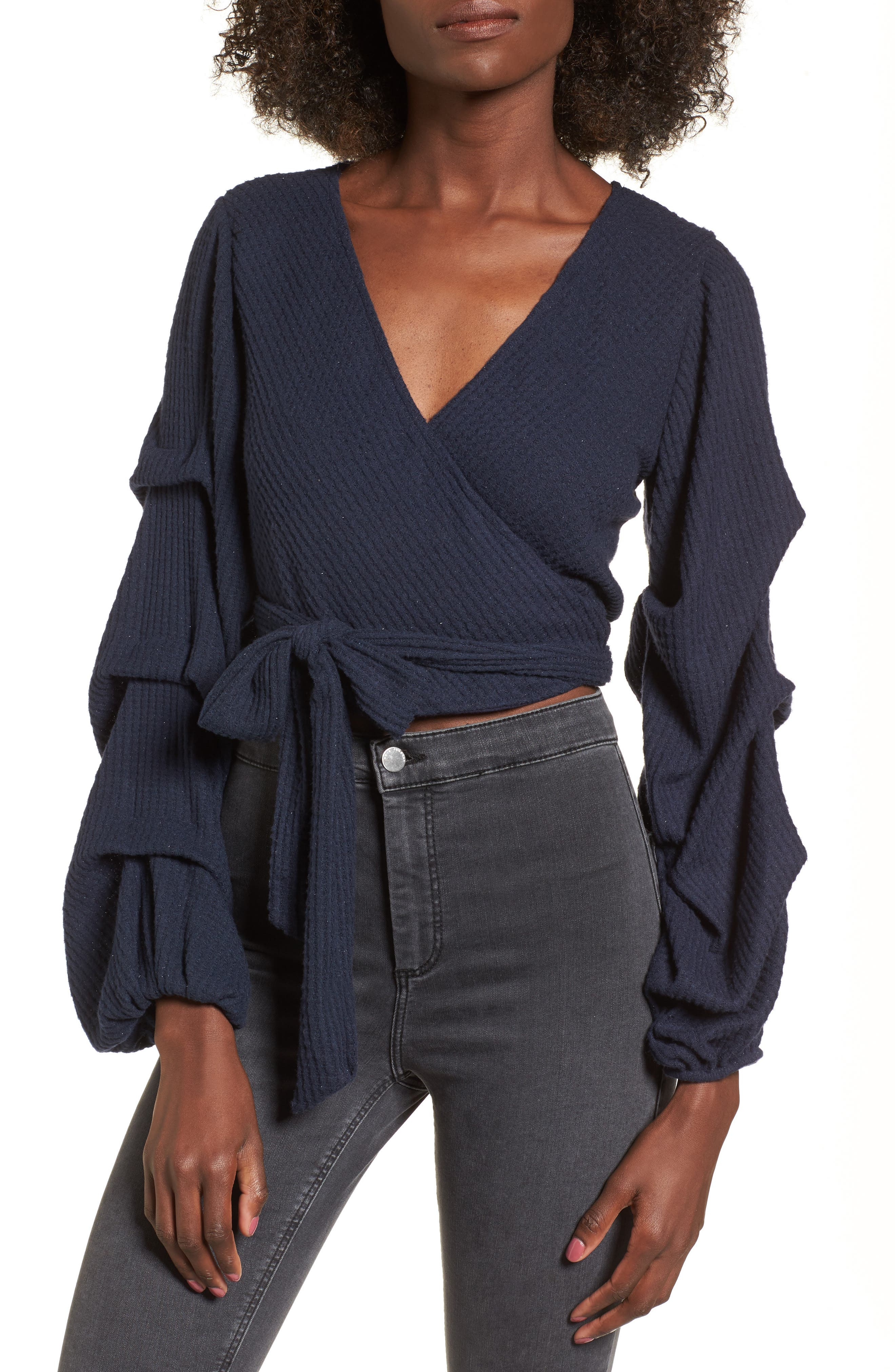 Wrap Sweater,                         Main,                         color, Navy