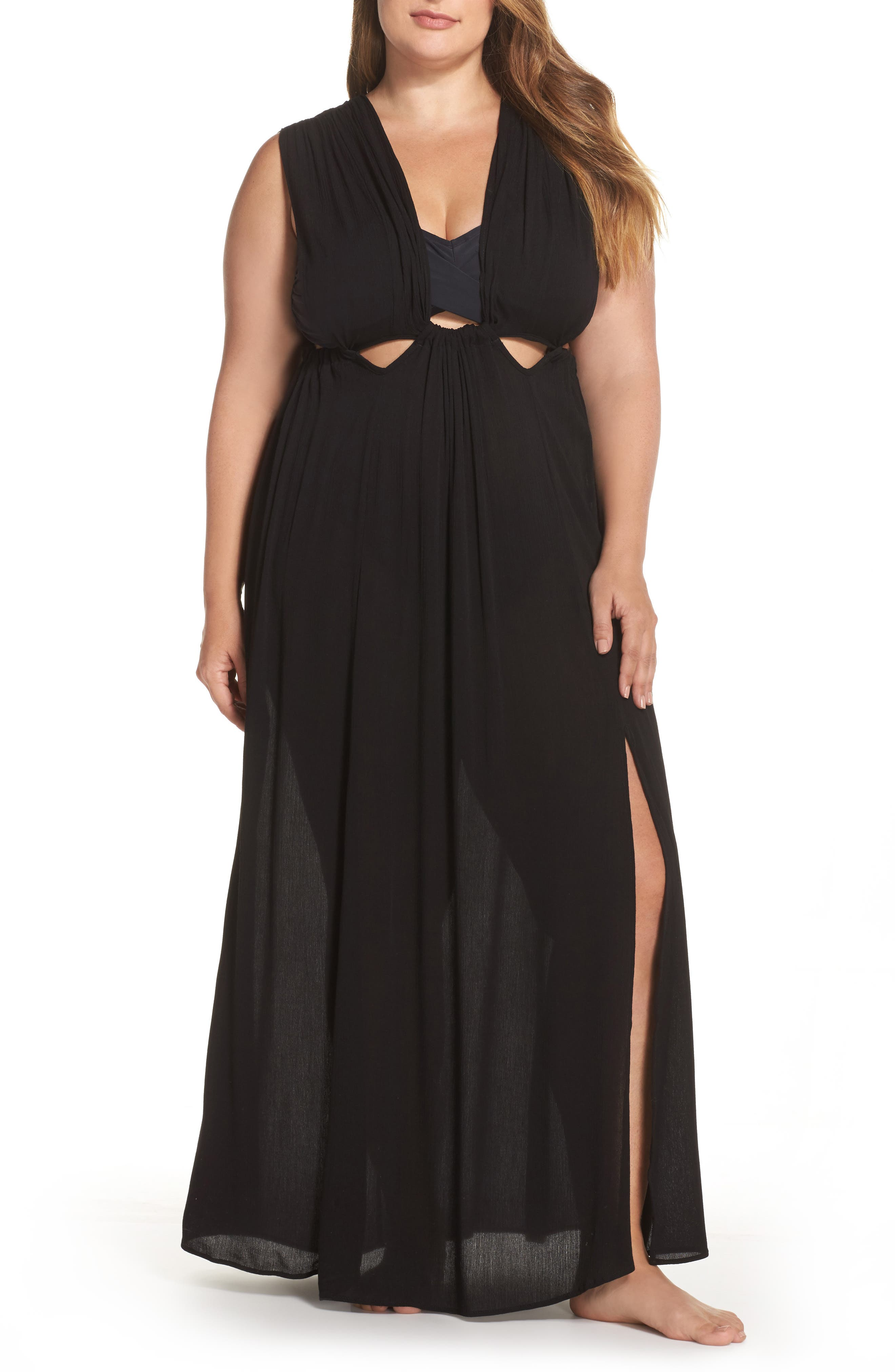 Cutout Cover-Up Maxi Dress,                             Main thumbnail 1, color,                             Black