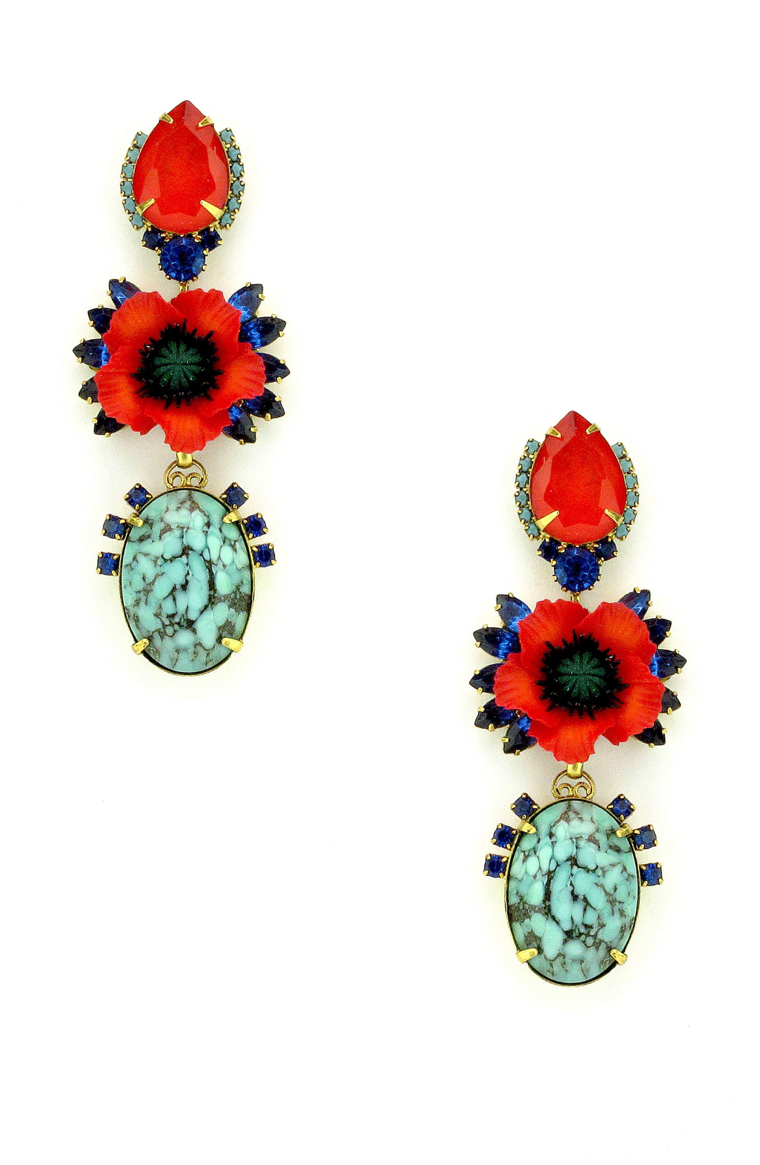 Zula Crystal Drop Earrings,                             Main thumbnail 1, color,                             Poppy