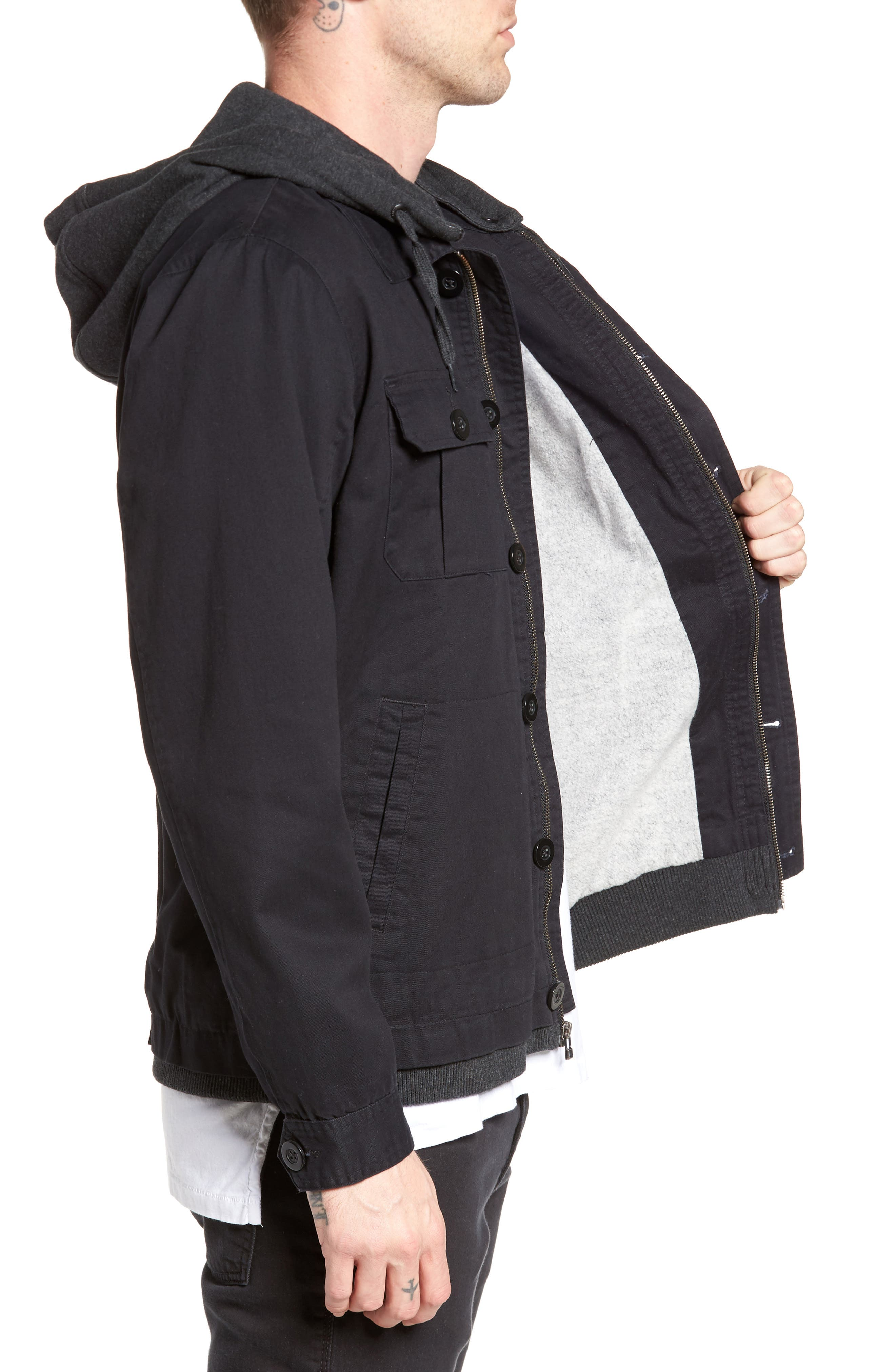 Droogs Field Jacket with Detachable Hood,                             Alternate thumbnail 3, color,                             Grey/ Heather Grey