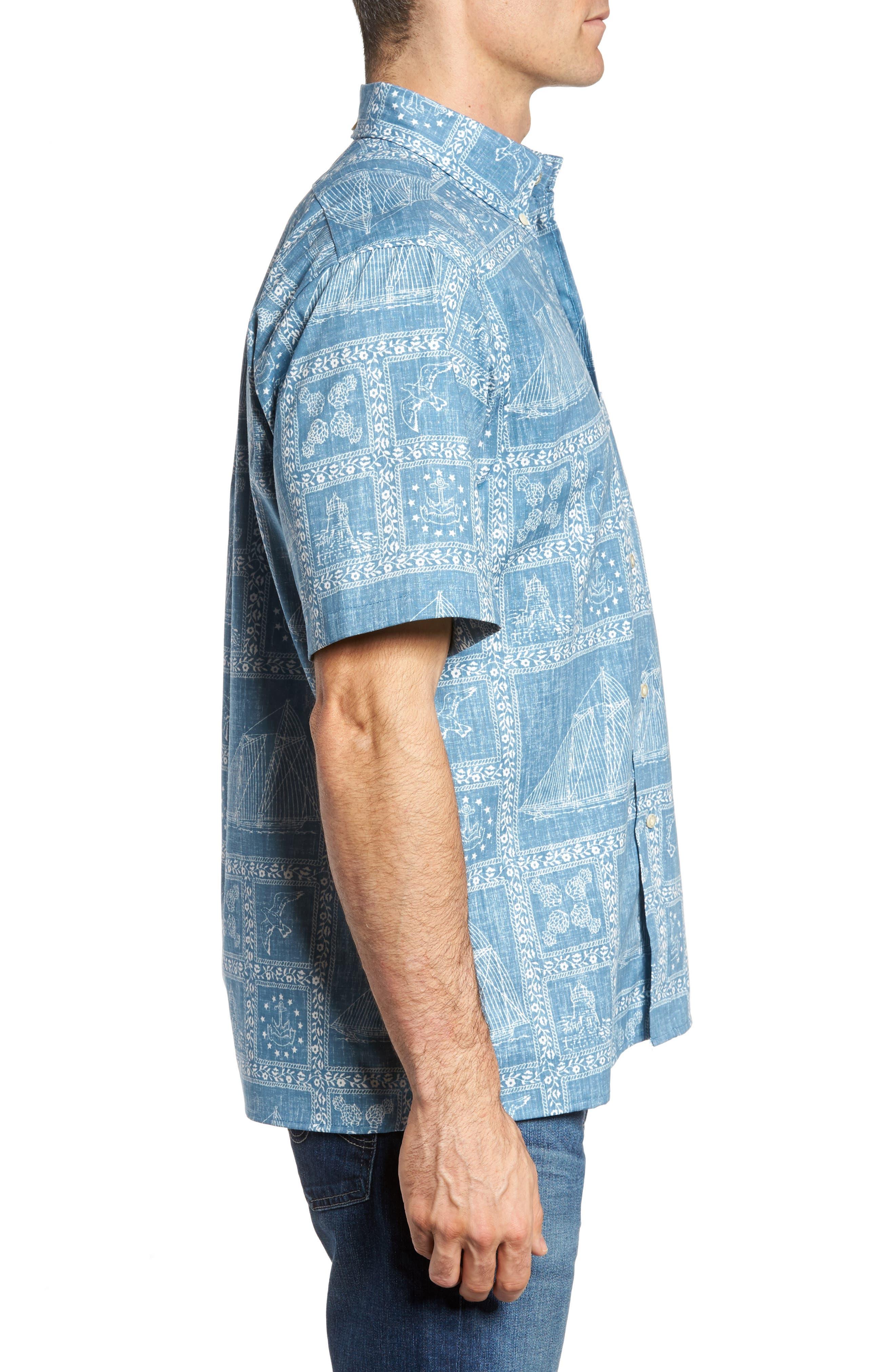 Newport Sailor Classic Fit Print Sport Shirt,                             Alternate thumbnail 3, color,                             Denim