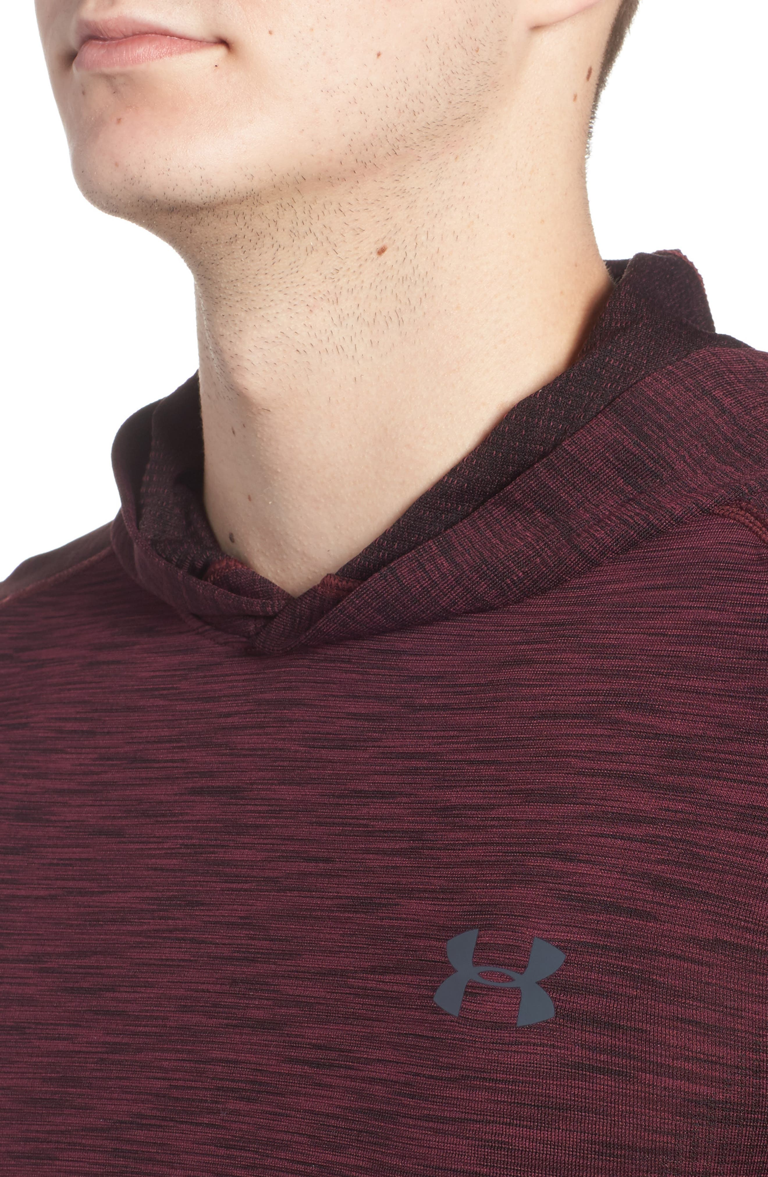 Threadbone Fitted Seamless Hoodie,                             Alternate thumbnail 4, color,                             Raisin Red / Stealth Grey