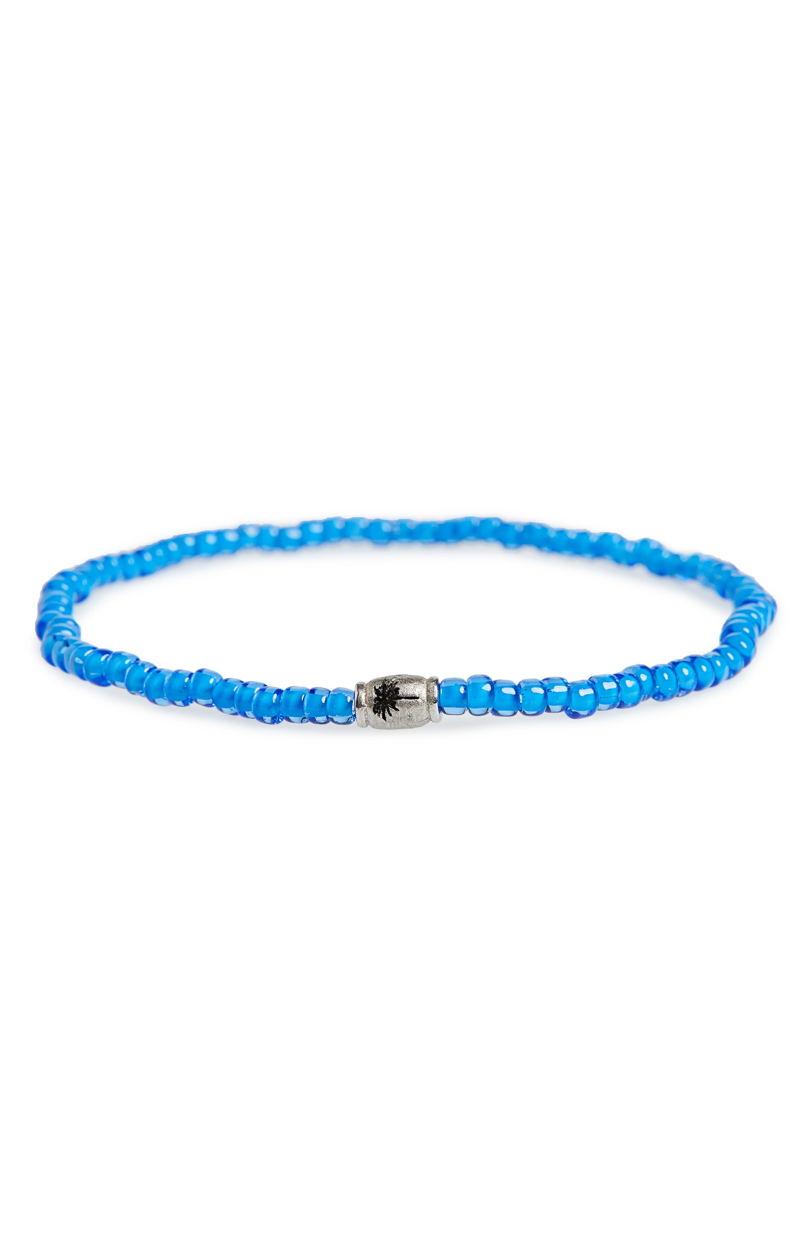 Palm Tree Barrel Beaded Elastic Bracelet,                         Main,                         color, Blue