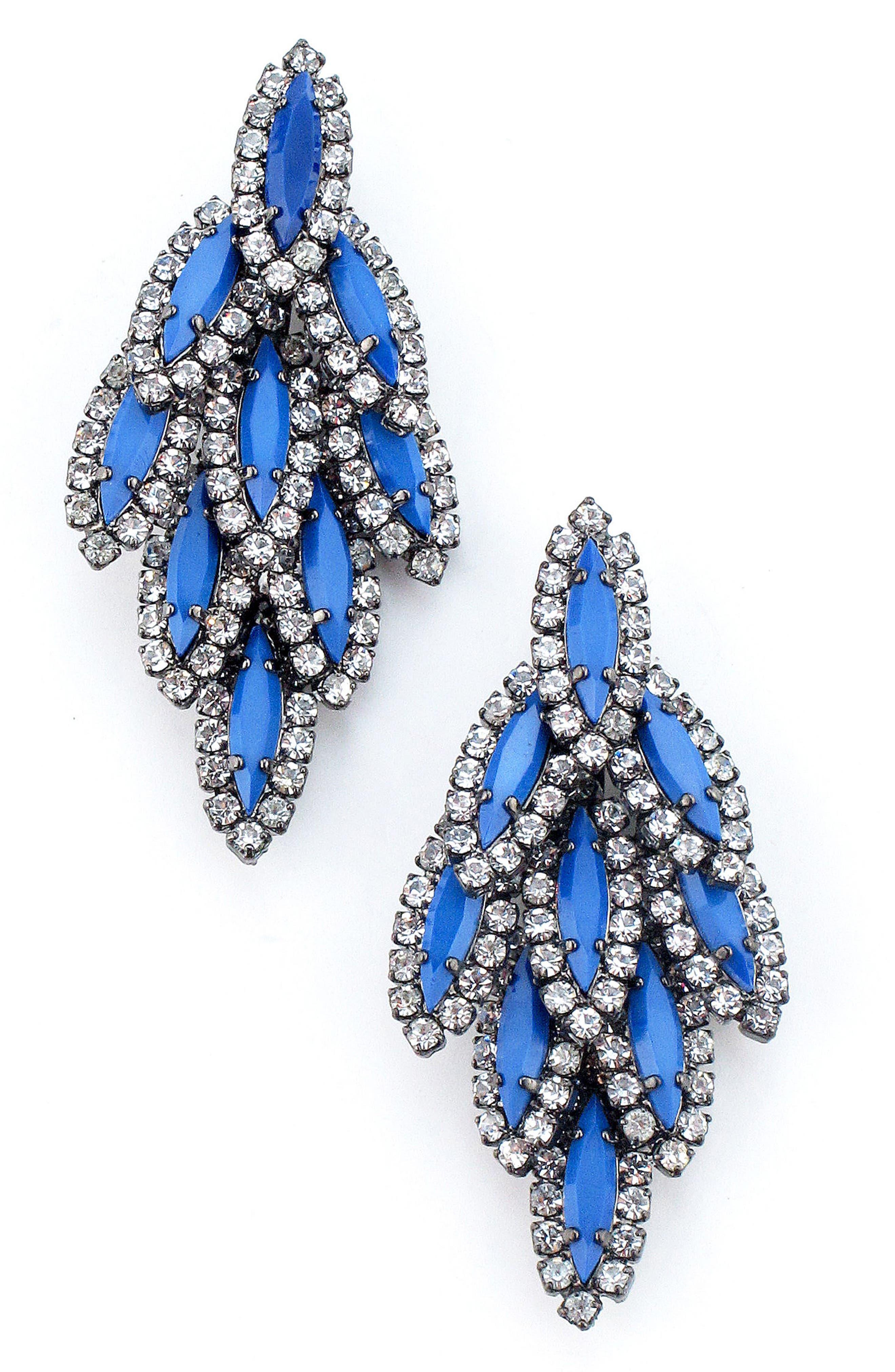 Bacall Crystal Drop Earrings,                             Main thumbnail 1, color,                             Cobalt