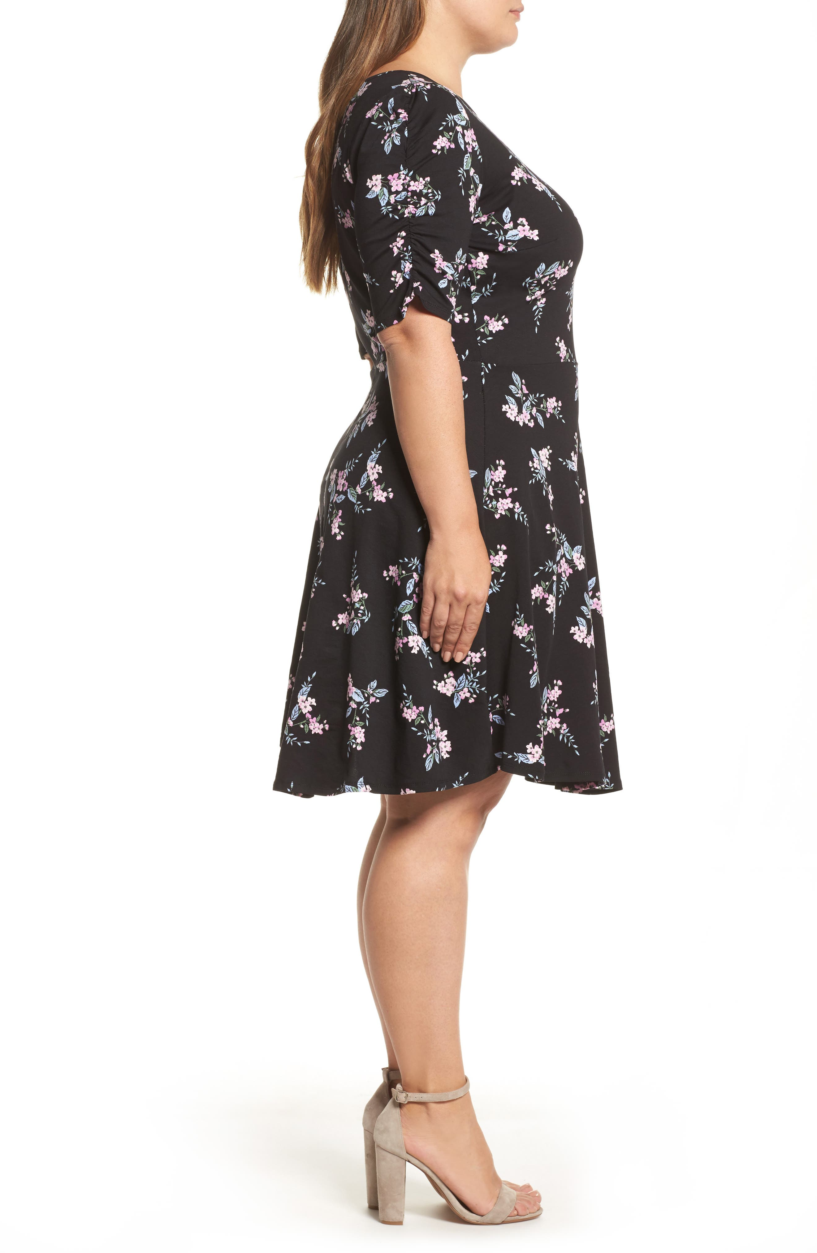 Floral Print Fit & Flare Dress,                             Alternate thumbnail 3, color,                             Black