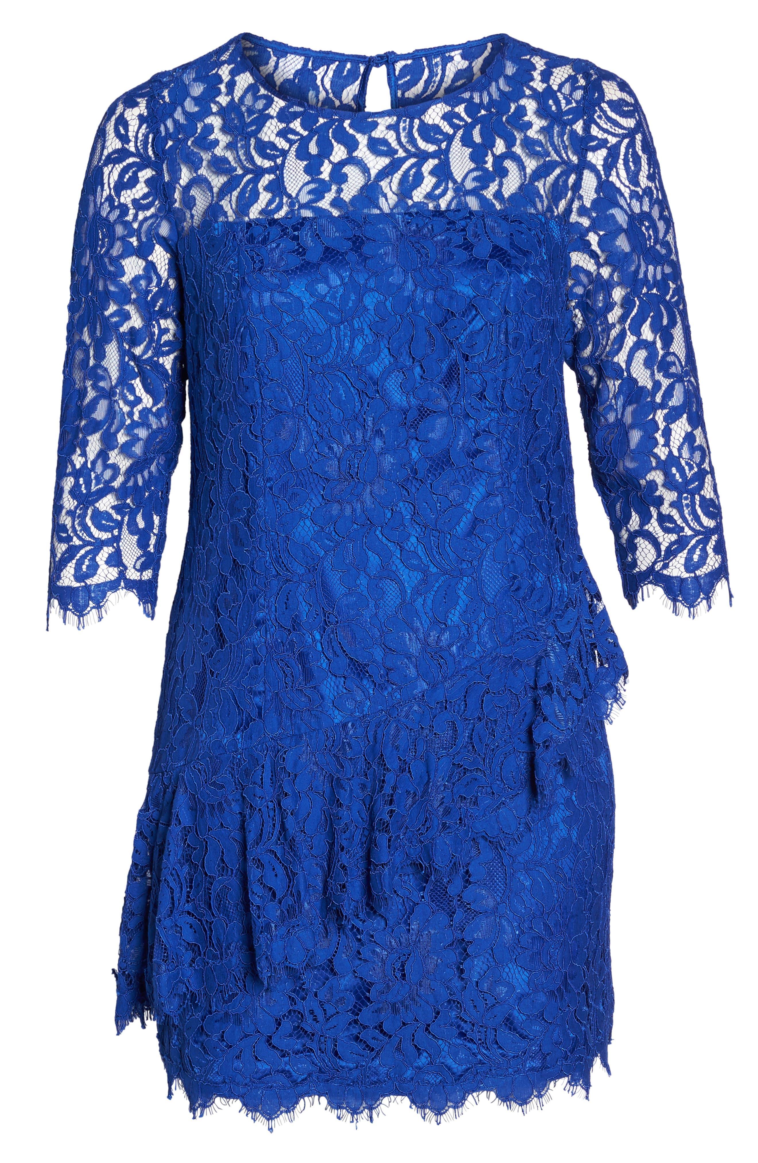 Lace Fit & Flare Dress,                             Alternate thumbnail 6, color,                             Cobalt
