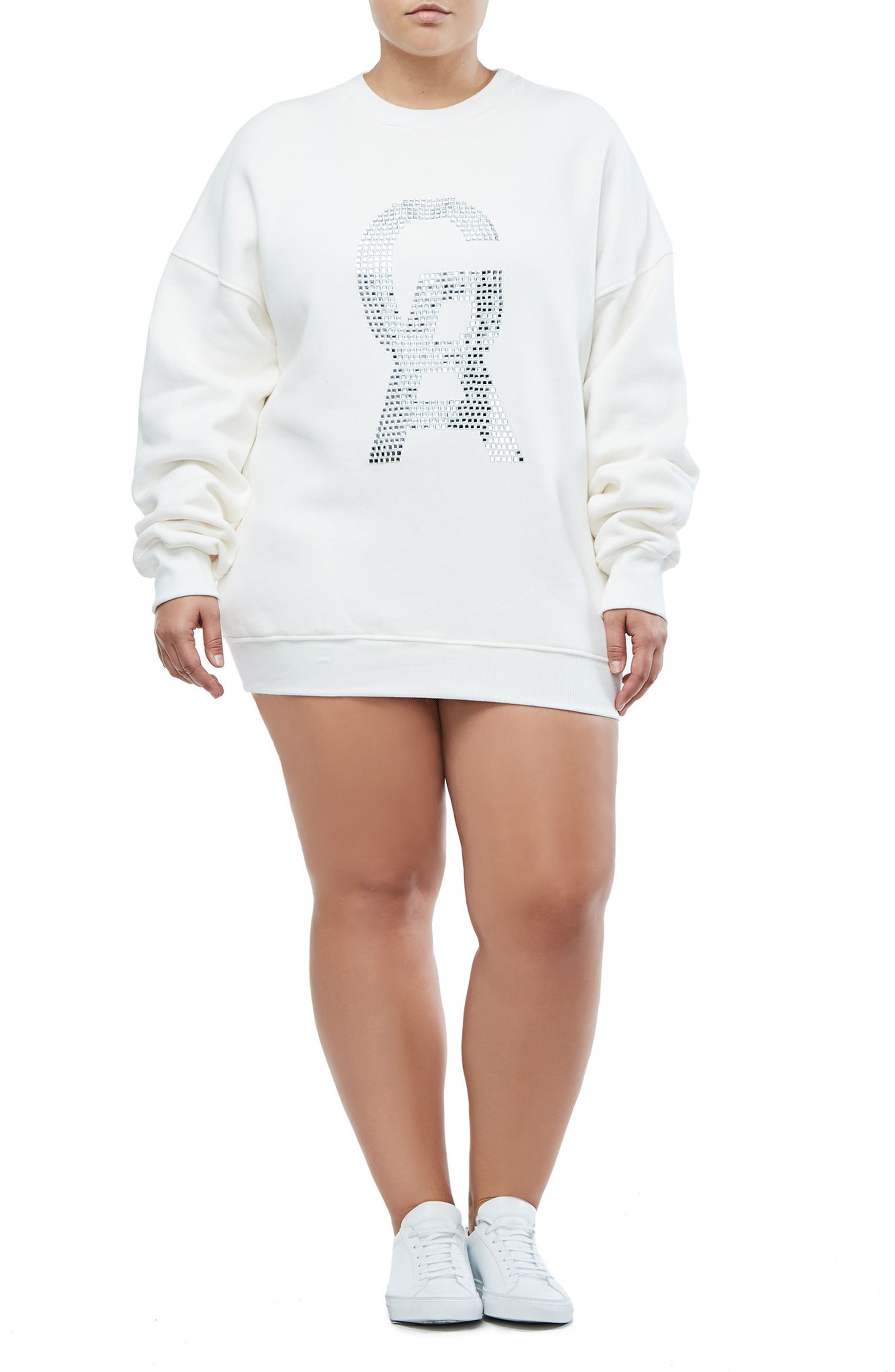 The Crystal Icon Sweatshirt,                             Alternate thumbnail 3, color,                             Good White