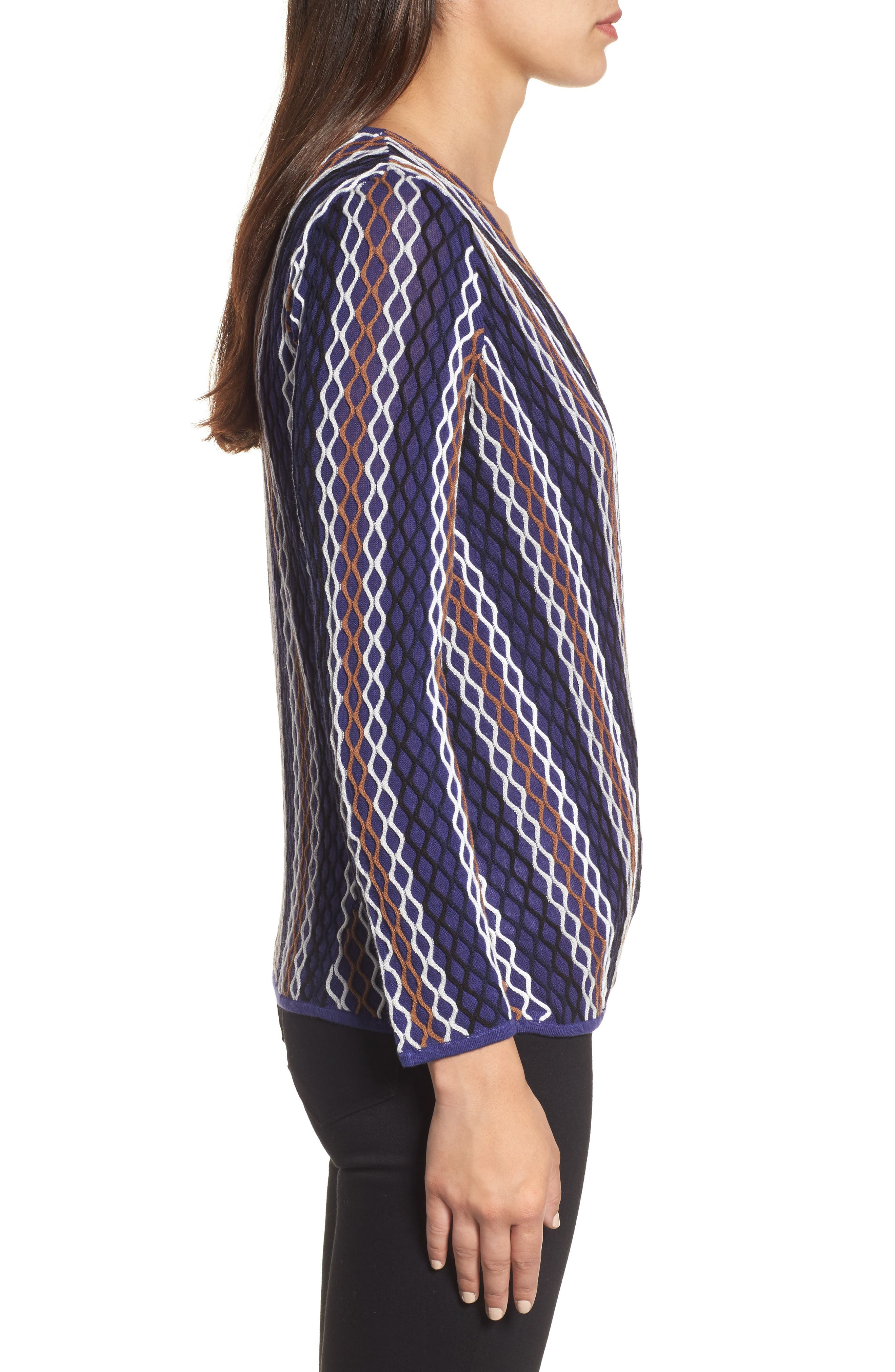 NIC+ ZOE Squiggled Up 4-Way Convertible Cardigan,                             Alternate thumbnail 3, color,                             Blue Multi