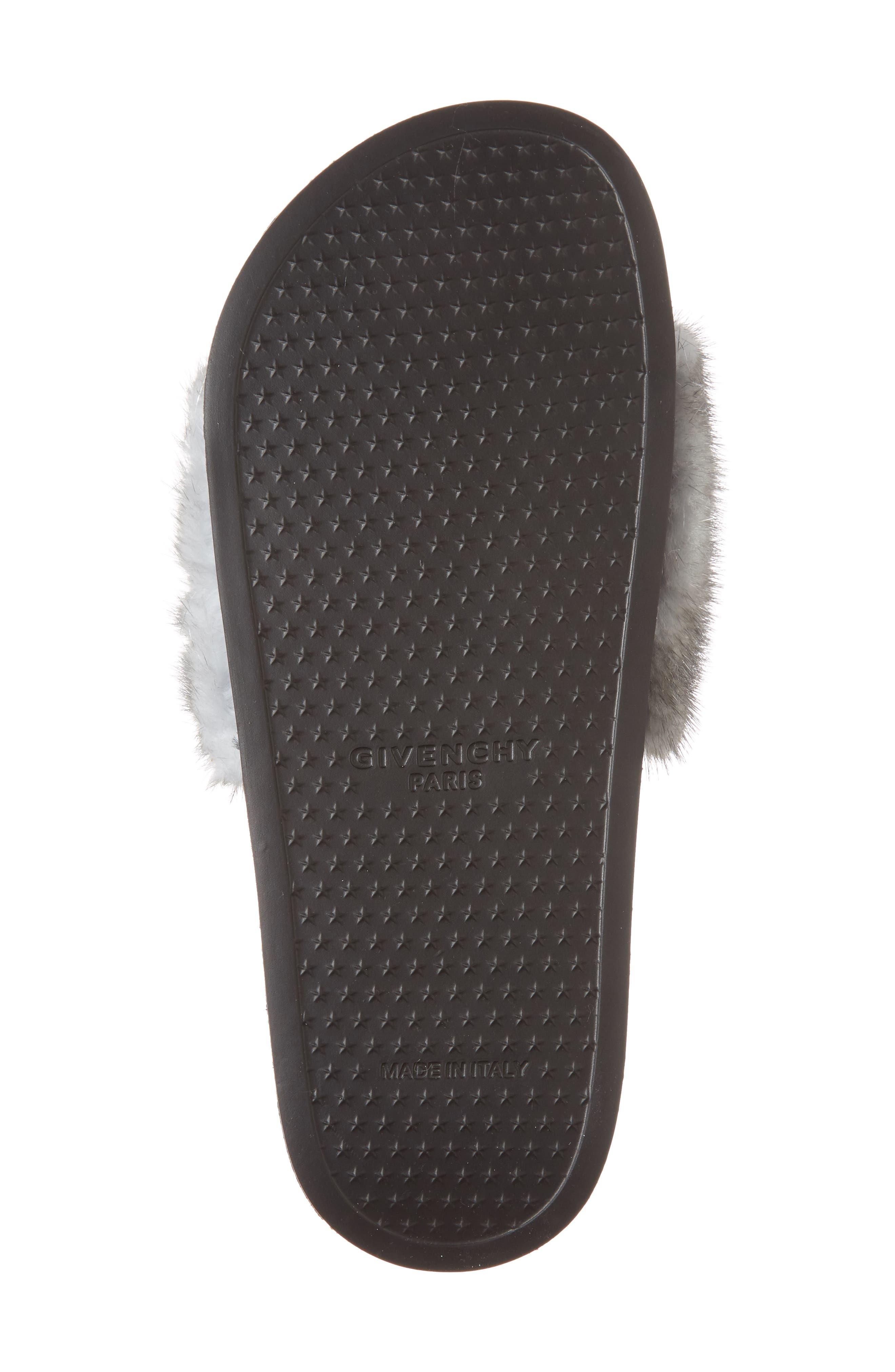 Genuine Mink Fur Slide Sandal,                             Alternate thumbnail 6, color,                             Silver