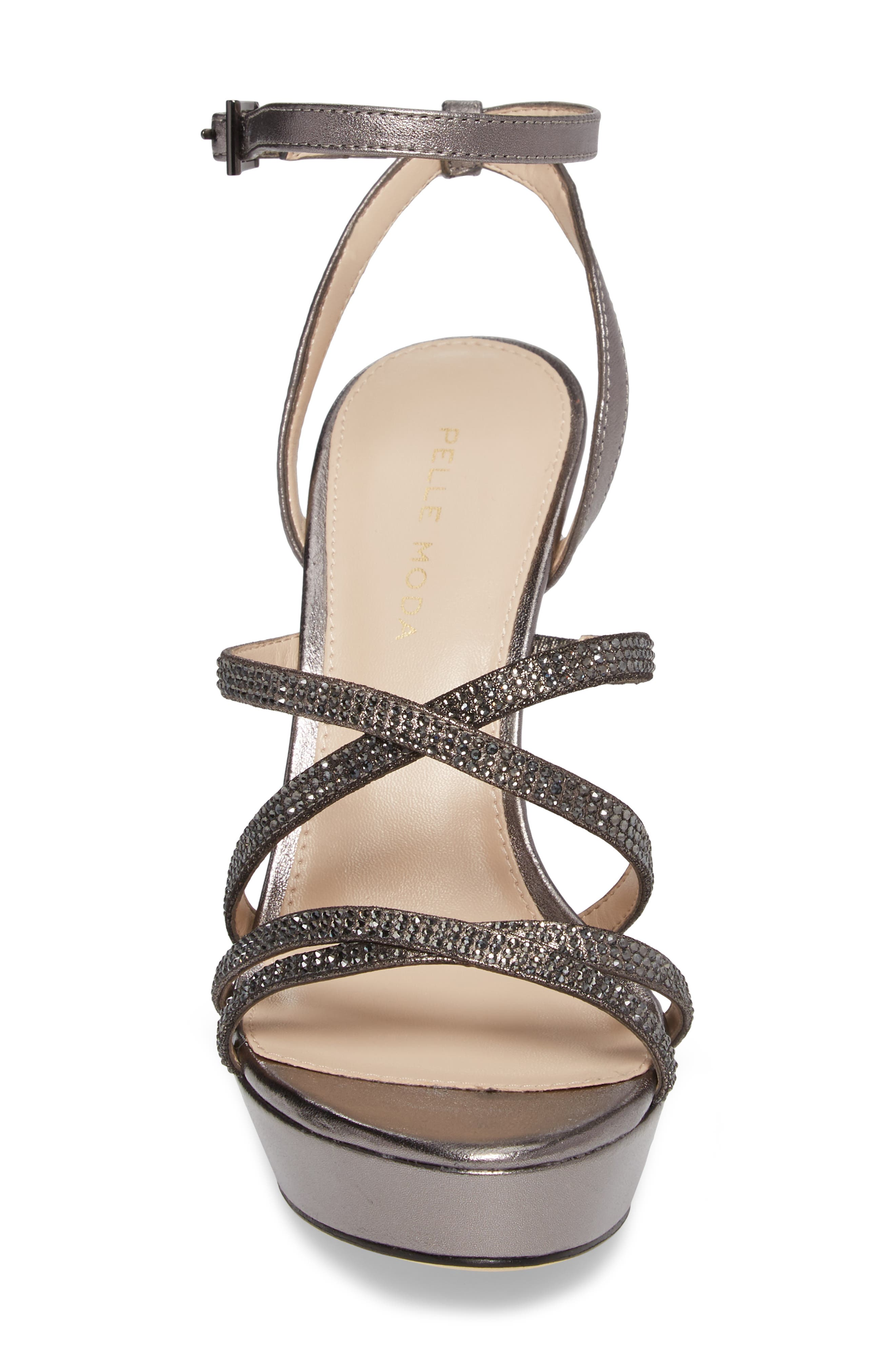 Oak Platform Sandal,                             Alternate thumbnail 4, color,                             Pewter Metallic Suede