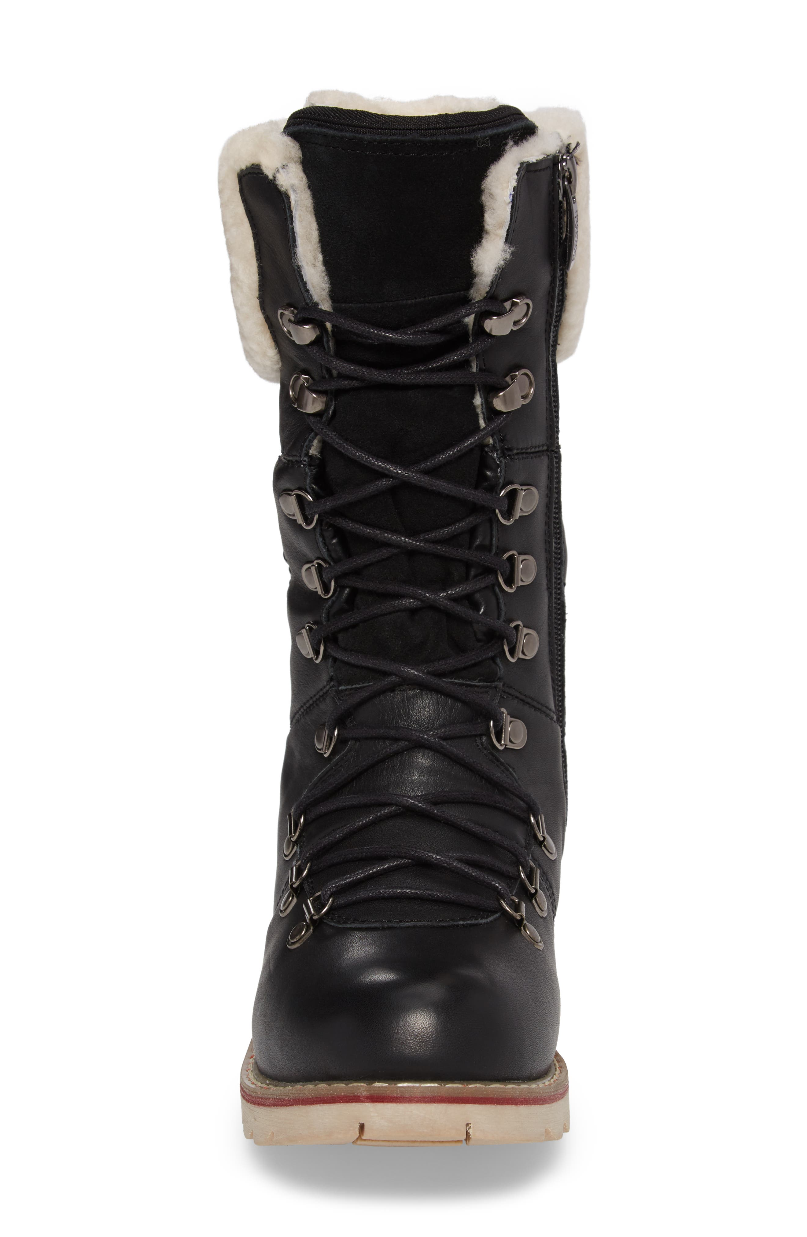 Louise Waterproof Snow Boot with Genuine Shearling Cuff,                             Alternate thumbnail 4, color,                             Black Leather