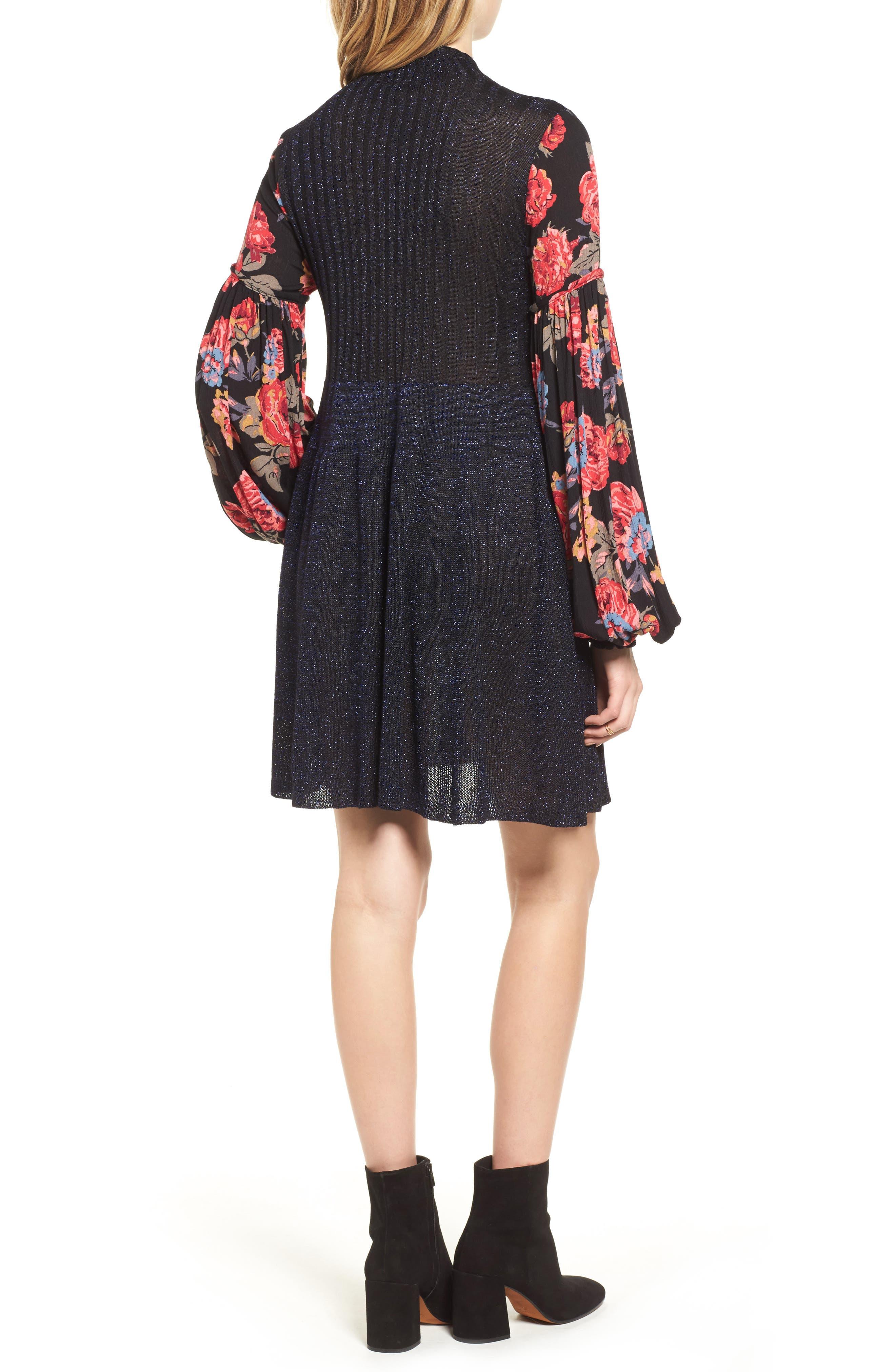Rose & Shine Sweater Dress,                             Alternate thumbnail 2, color,                             Black Combo