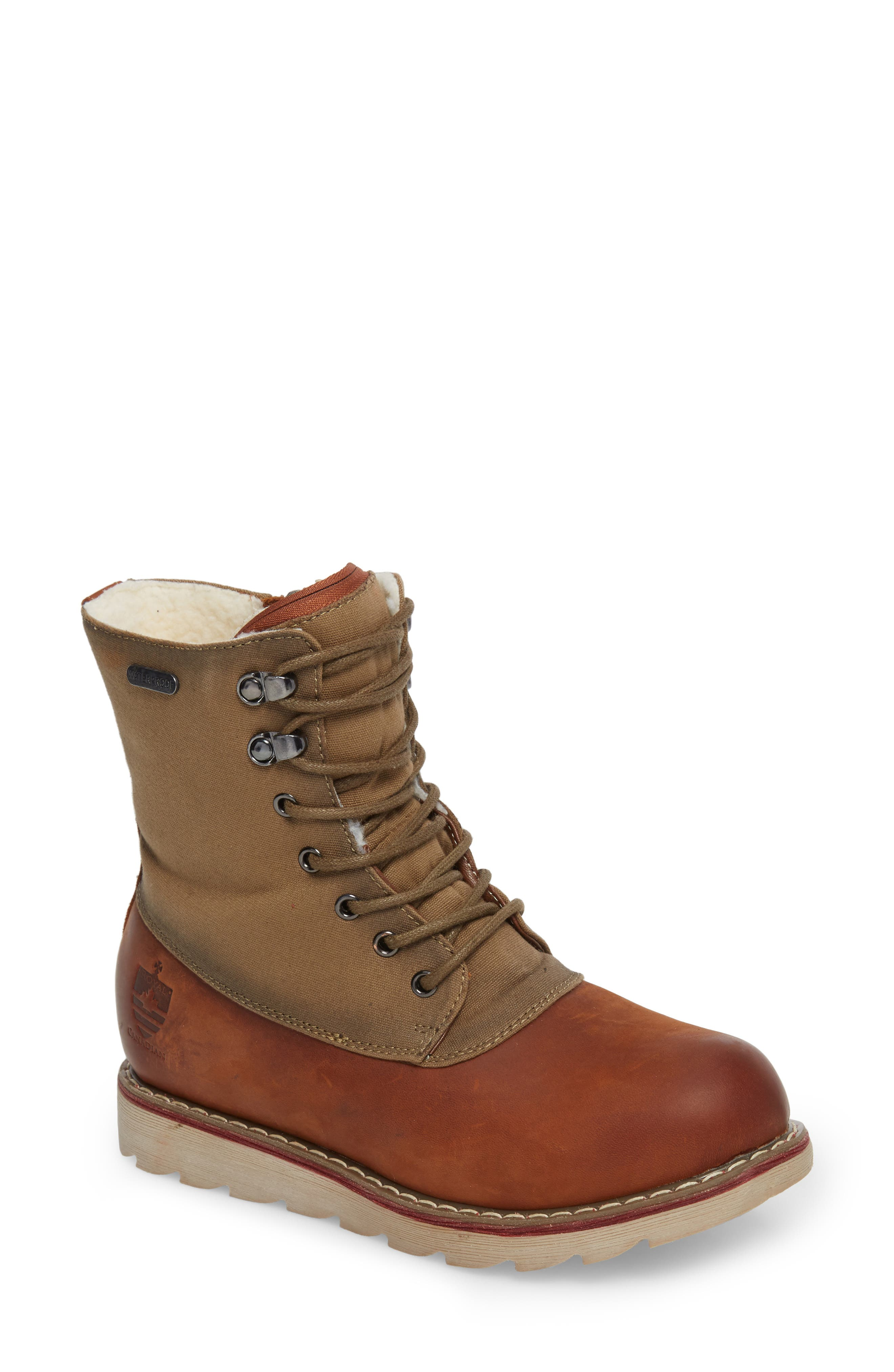 LaSalle Waterproof Insulated Winter Boot,                             Main thumbnail 1, color,                             Cognac Leather