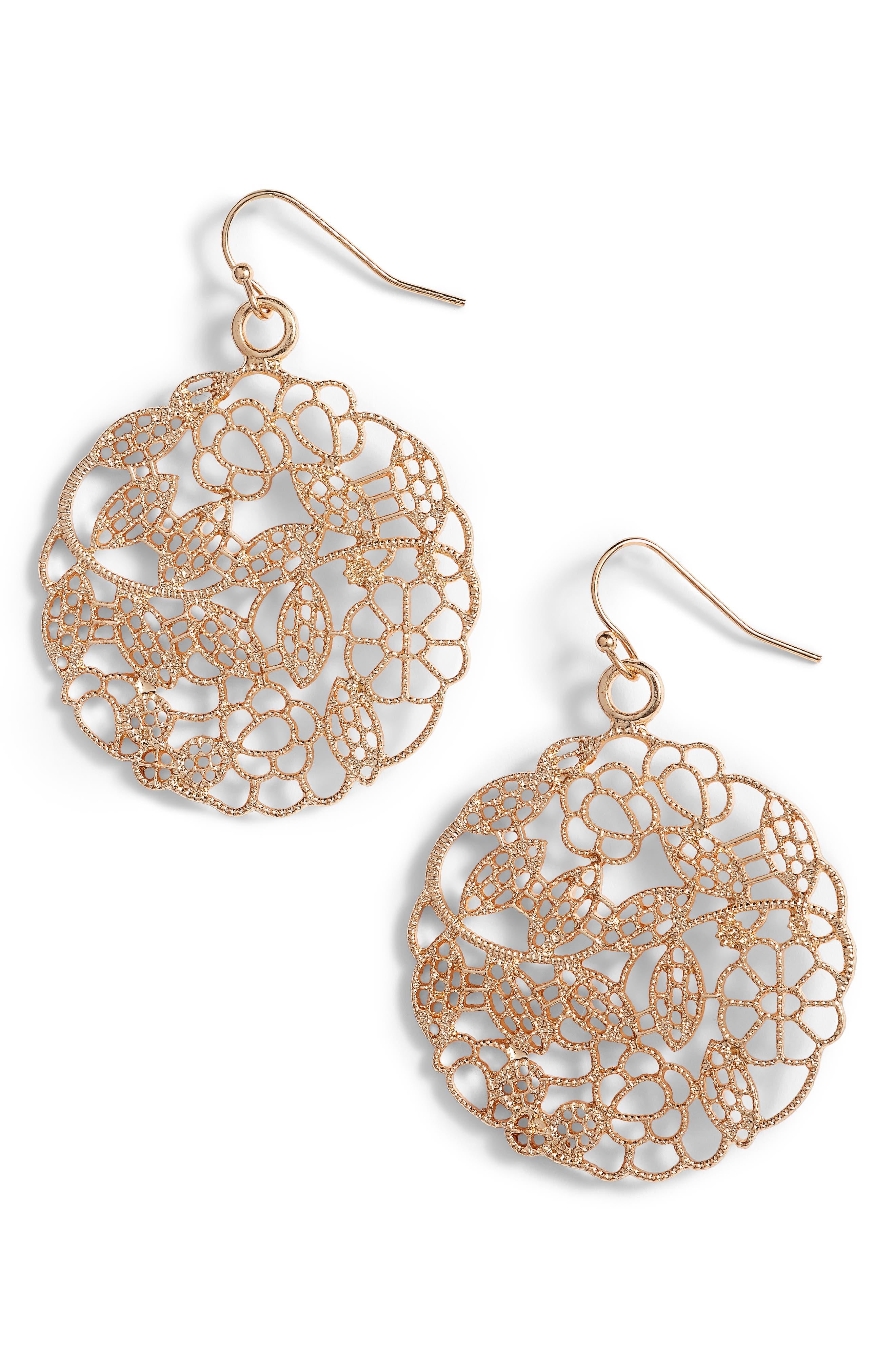Filigree Drop Earrings,                         Main,                         color, Gold