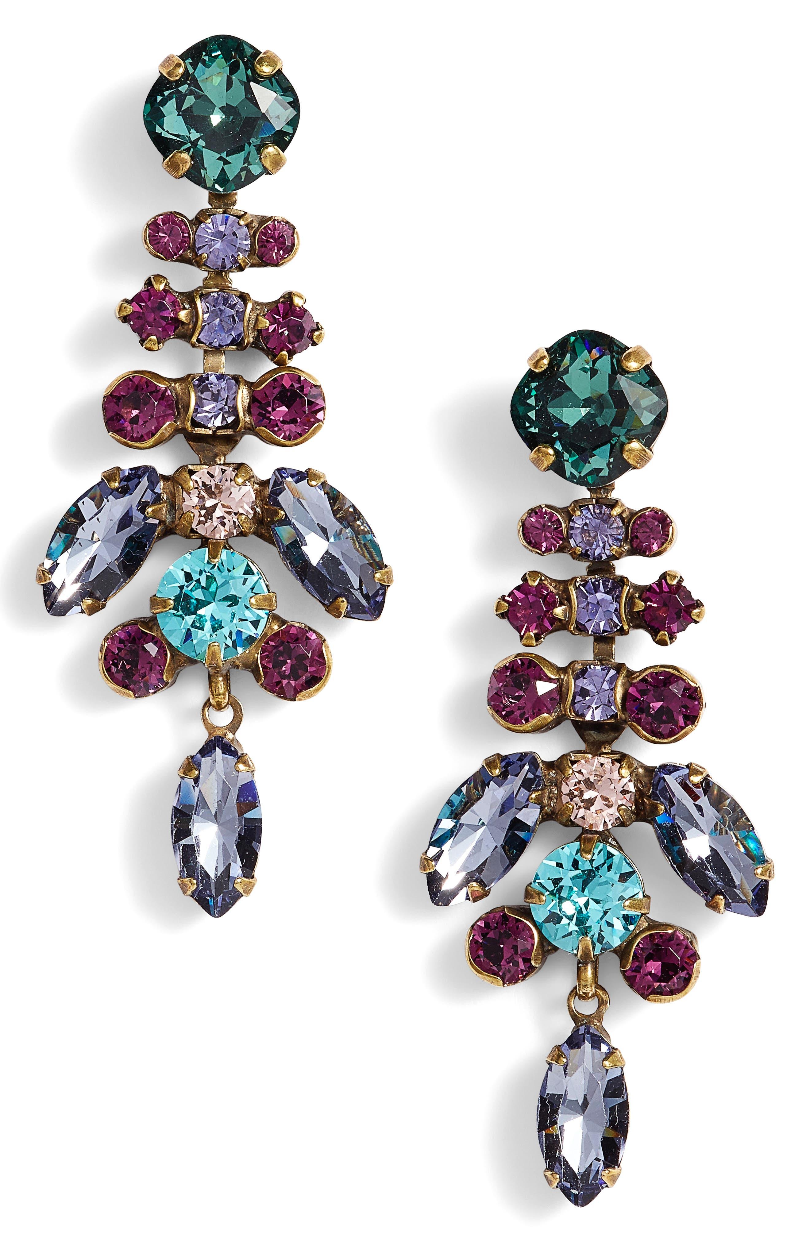 Perfect Harmony Crystal Drop Earrings,                             Main thumbnail 1, color,                             Multi