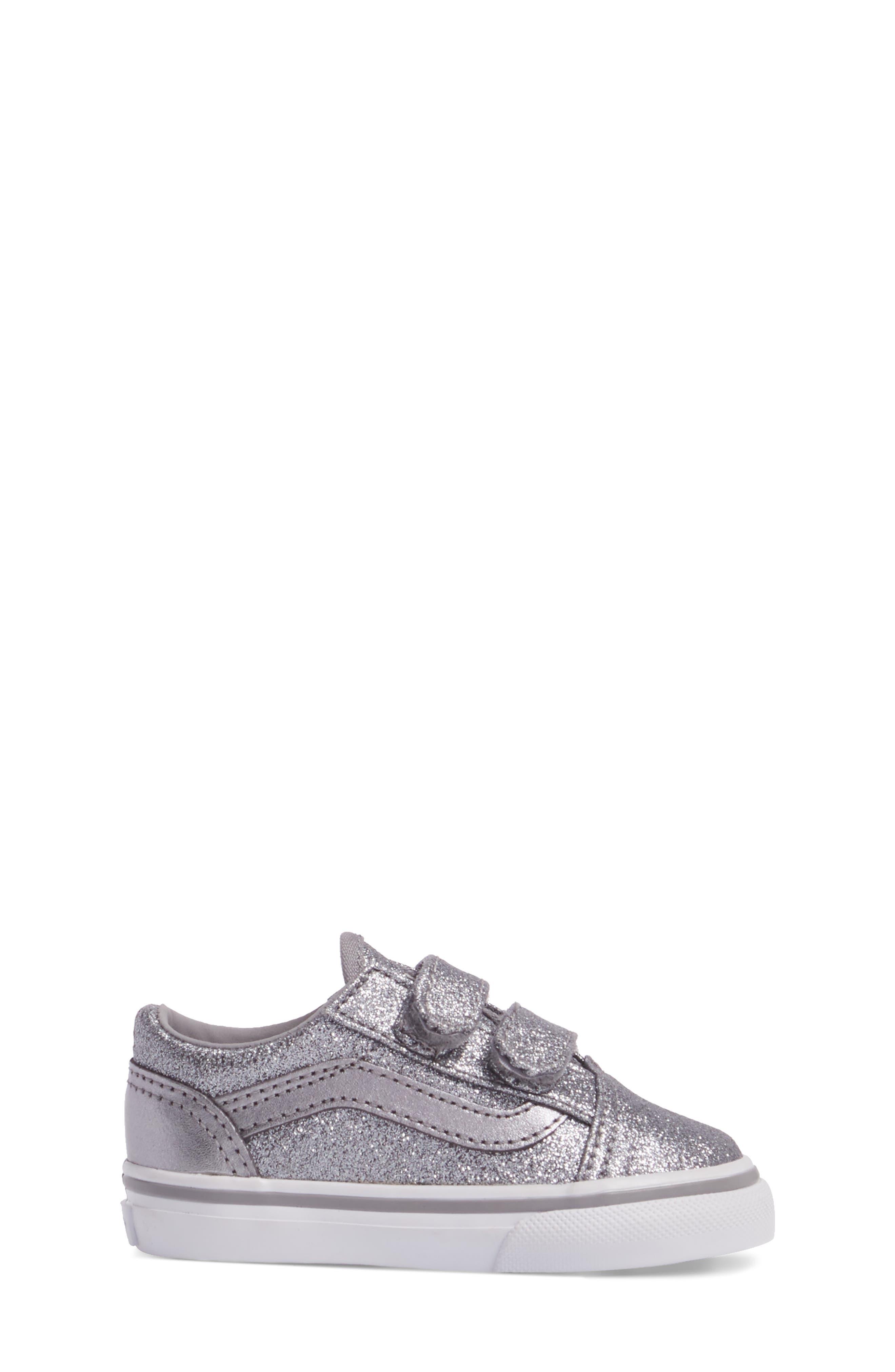 Old Skool V Glitter Sneaker,                             Alternate thumbnail 3, color,                             Glitter  Metallic Frost Gray
