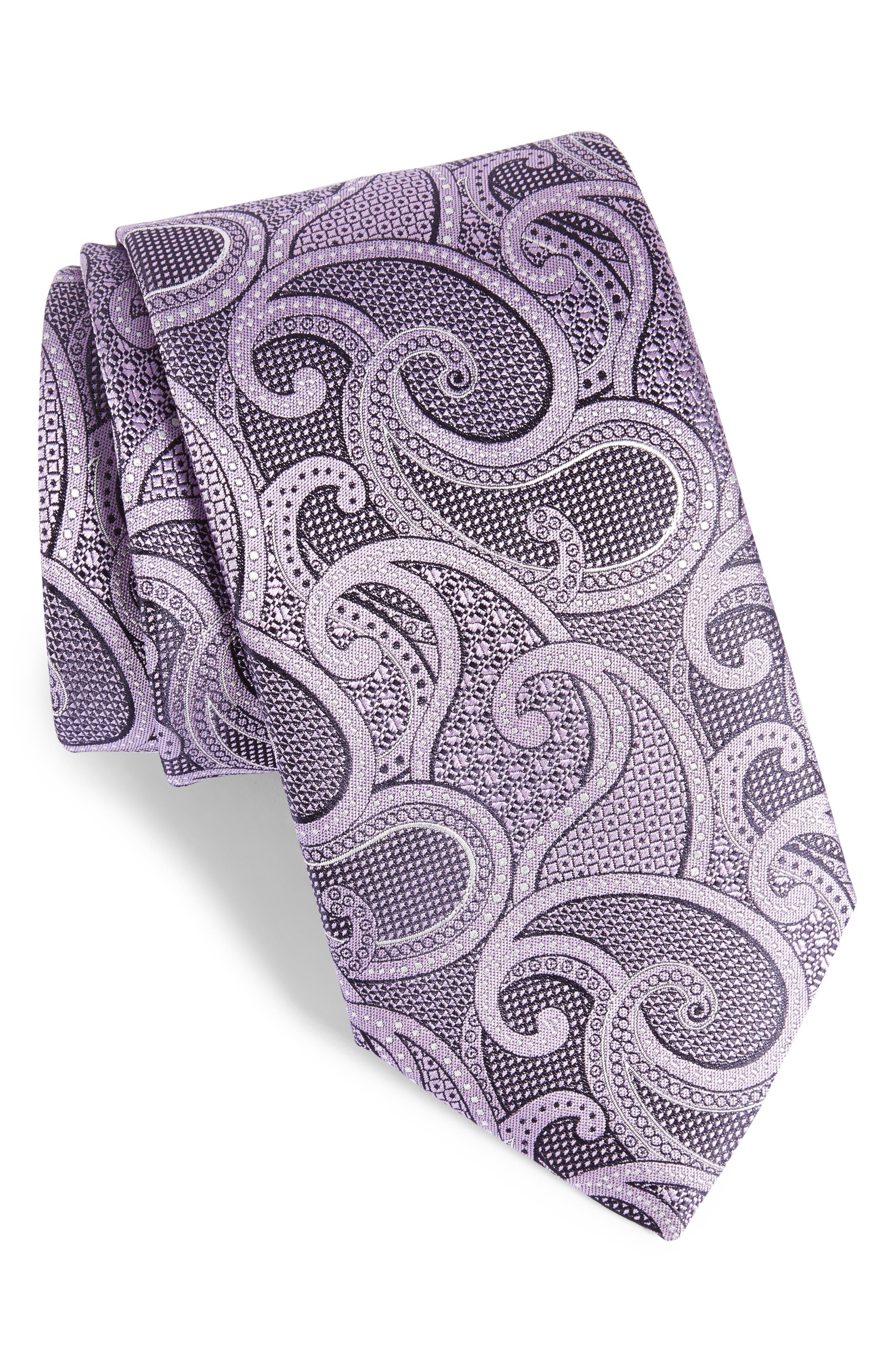 Paisley Silk Tie,                         Main,                         color, Light Purple