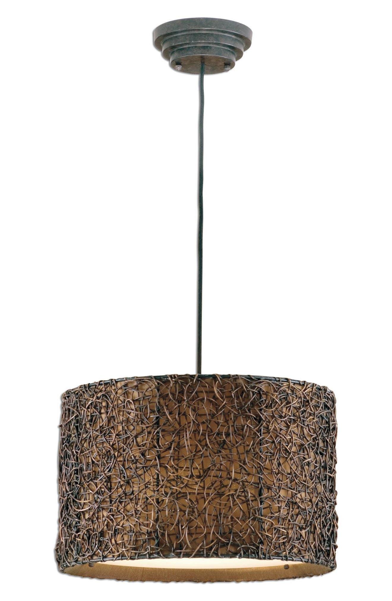 Knotted Rattan Pendant Lamp,                         Main,                         color, Metallic Rust/ Copper