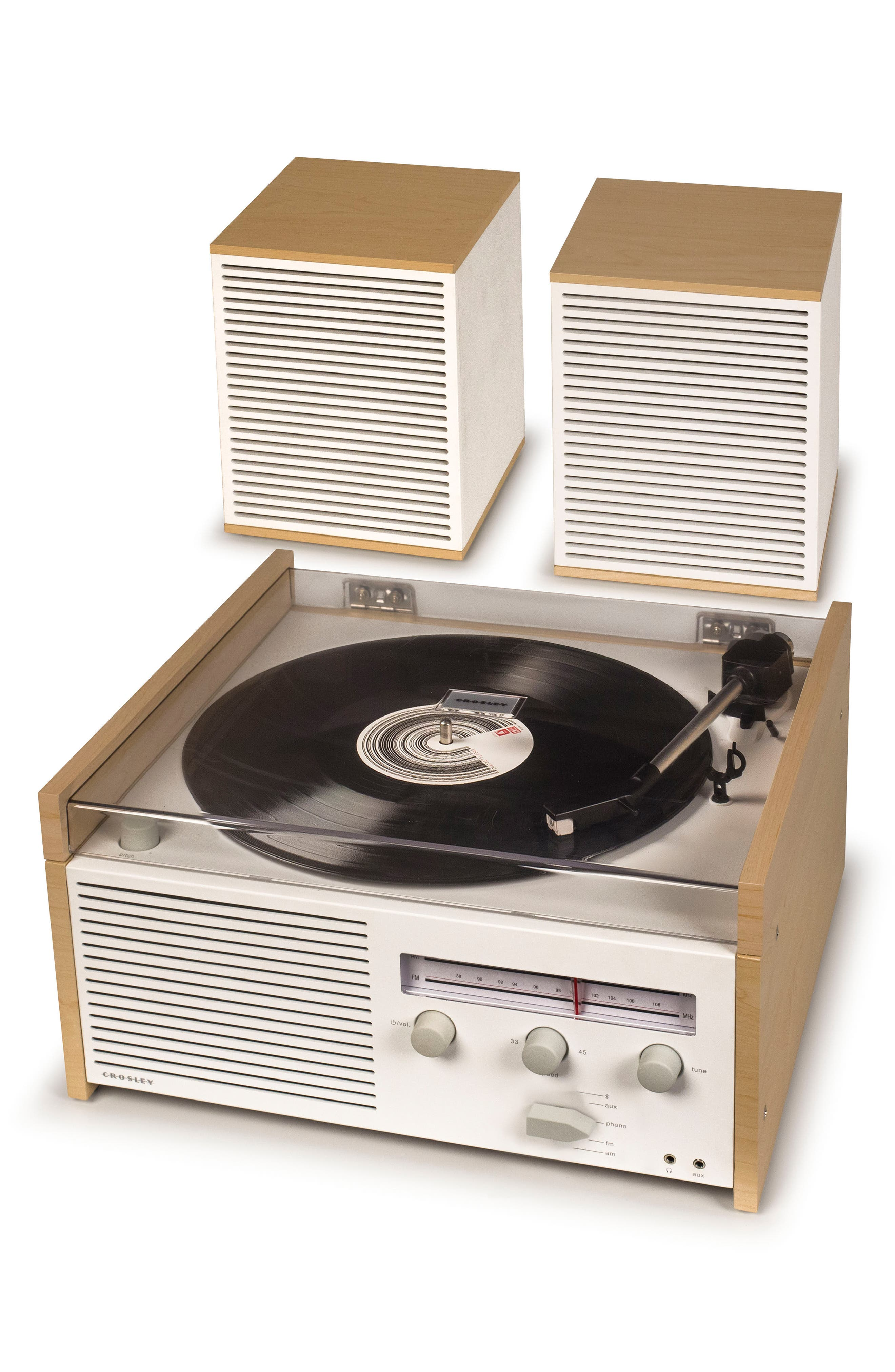 Switch II Turntable & Speakers Entertainment System,                             Alternate thumbnail 4, color,                             Natural