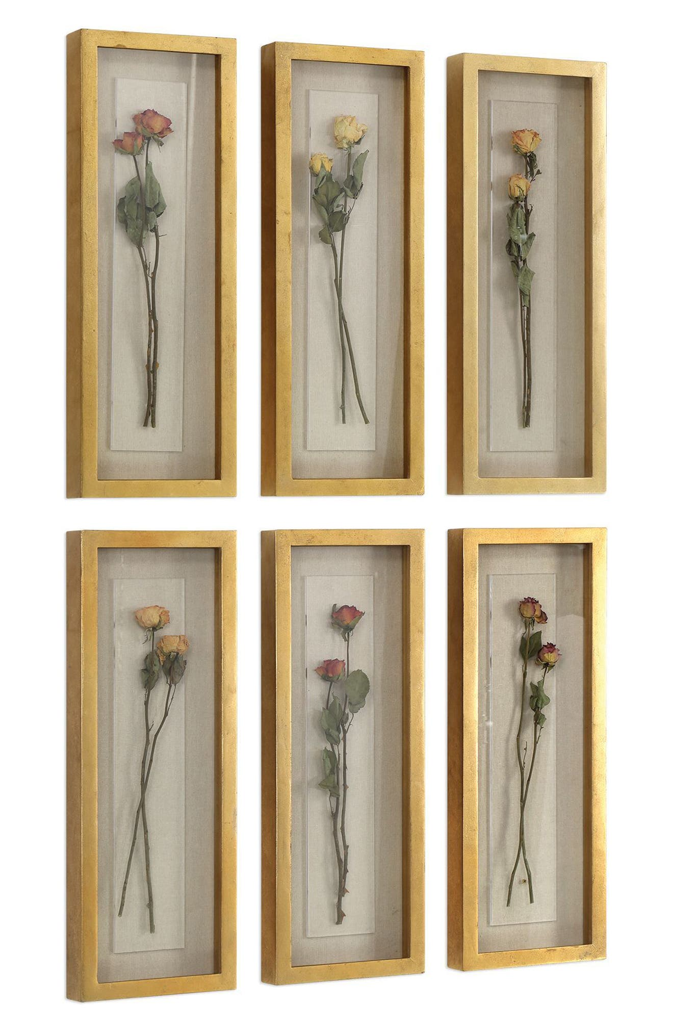 Rosalie Set of 6 Shadowboxes,                             Alternate thumbnail 3, color,                             Metallic Gold