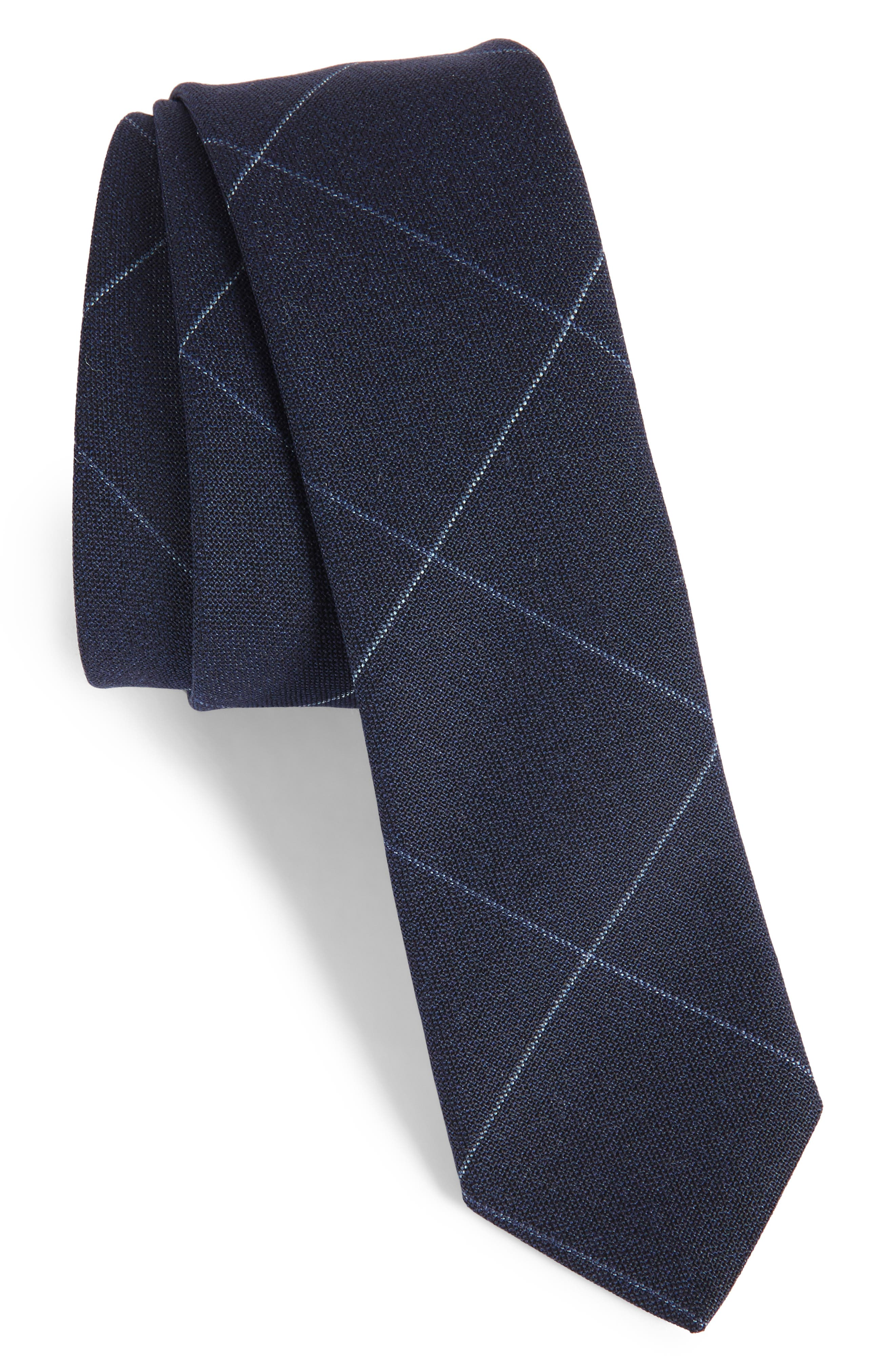 Eleventy Tattersall Wool Skinny Tie
