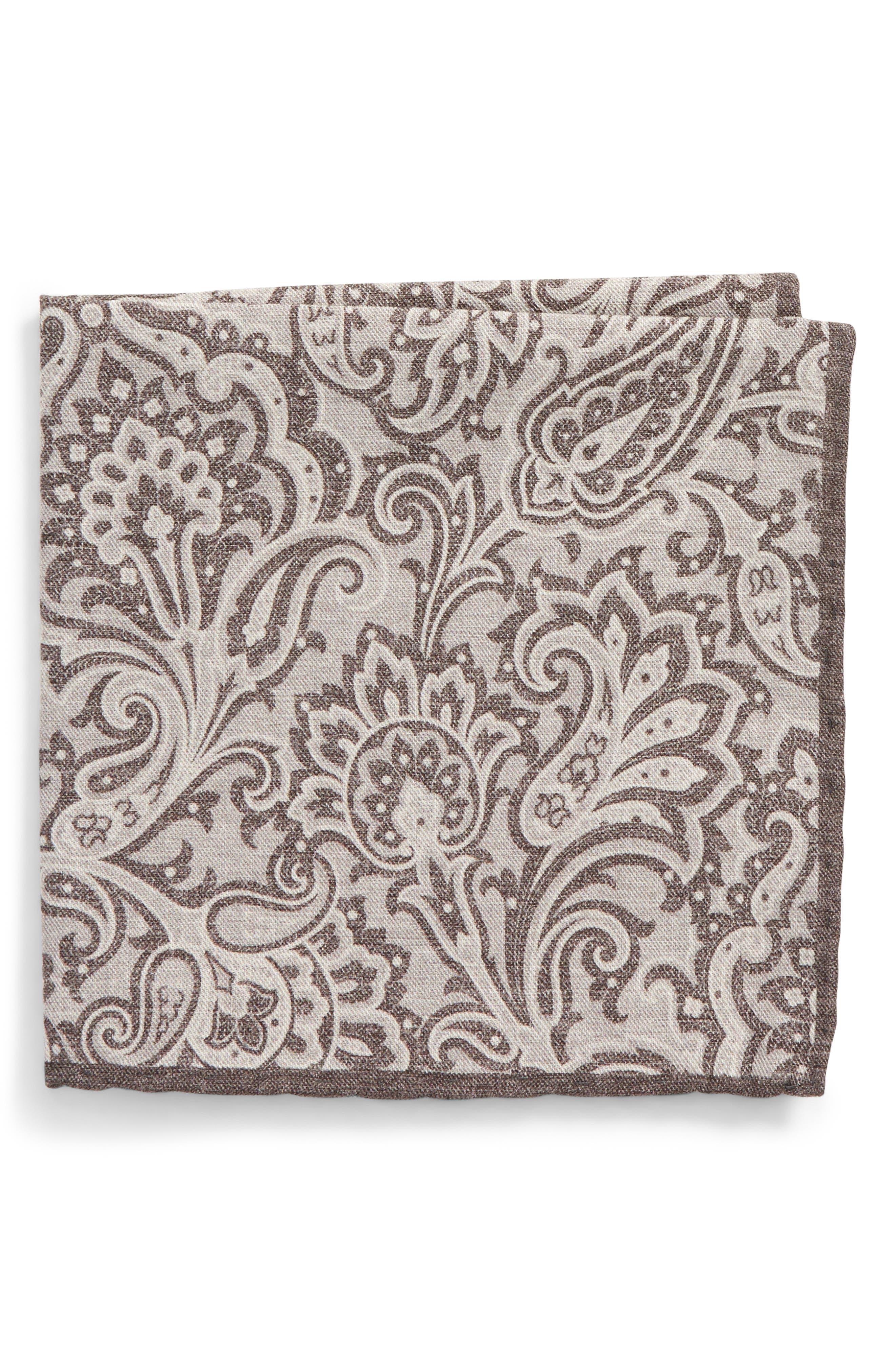 Paisley Wool & Cotton Pocket Square,                         Main,                         color, Grey