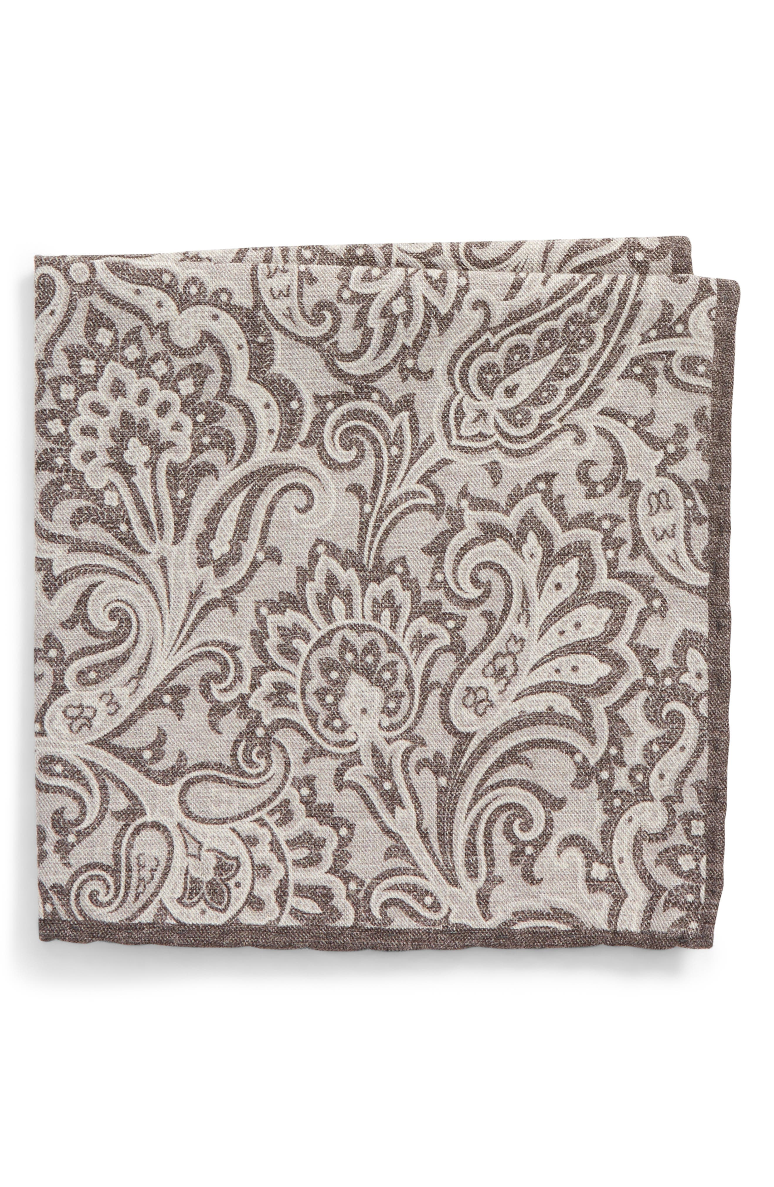 Paisley Wool & Cotton Pocket Square,                         Main,                         color, Grey