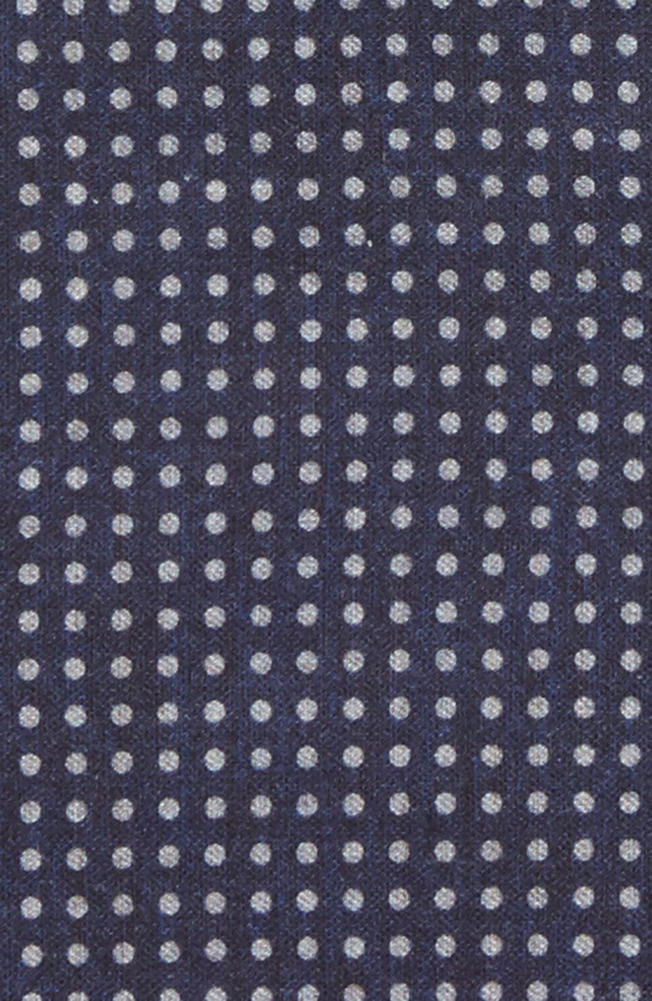 Dot Wool & Cotton Pocket Square,                             Alternate thumbnail 3, color,                             Navy