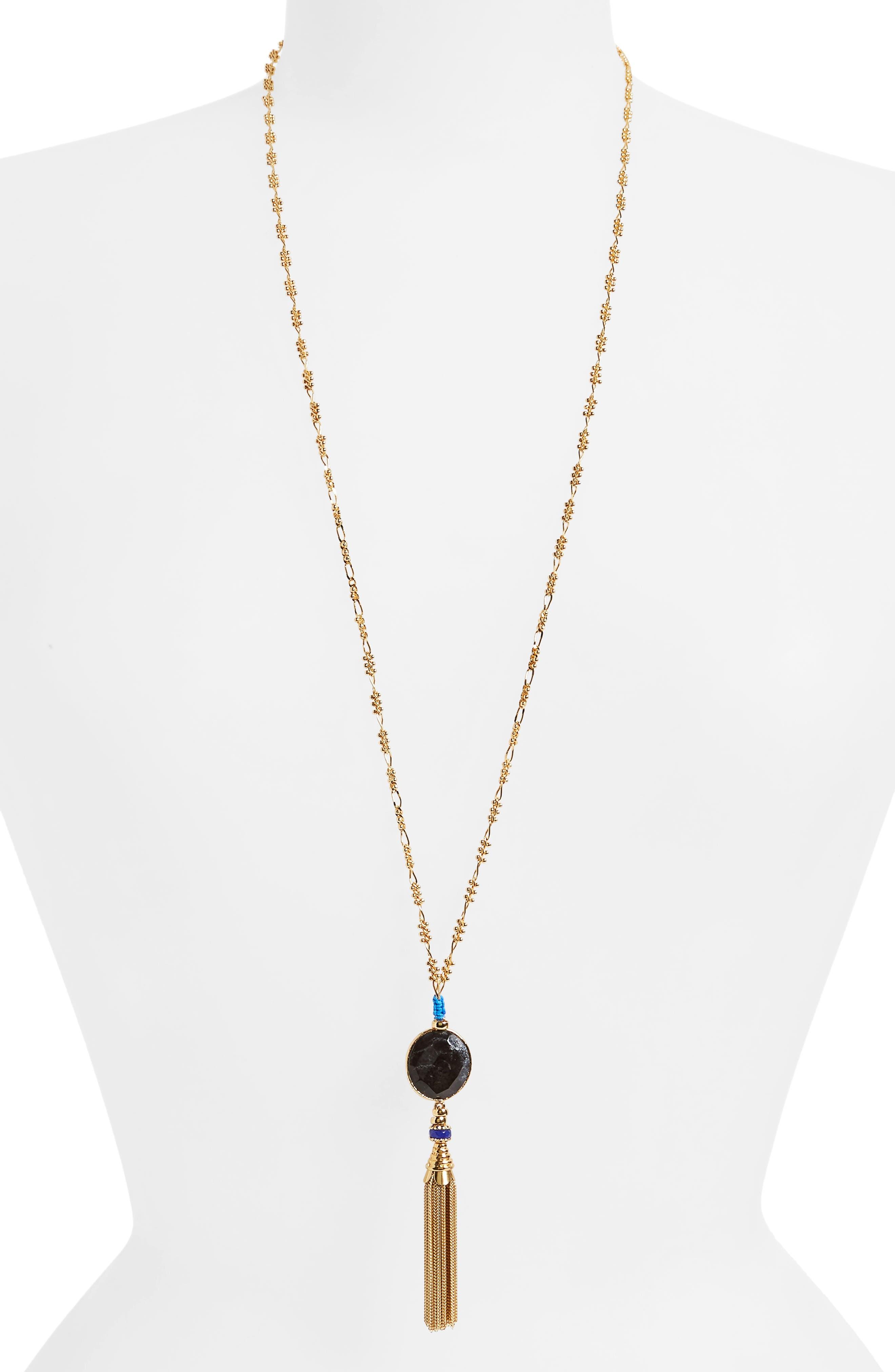 Serti Long Tassel Necklace,                             Main thumbnail 1, color,                             Black/ Gold