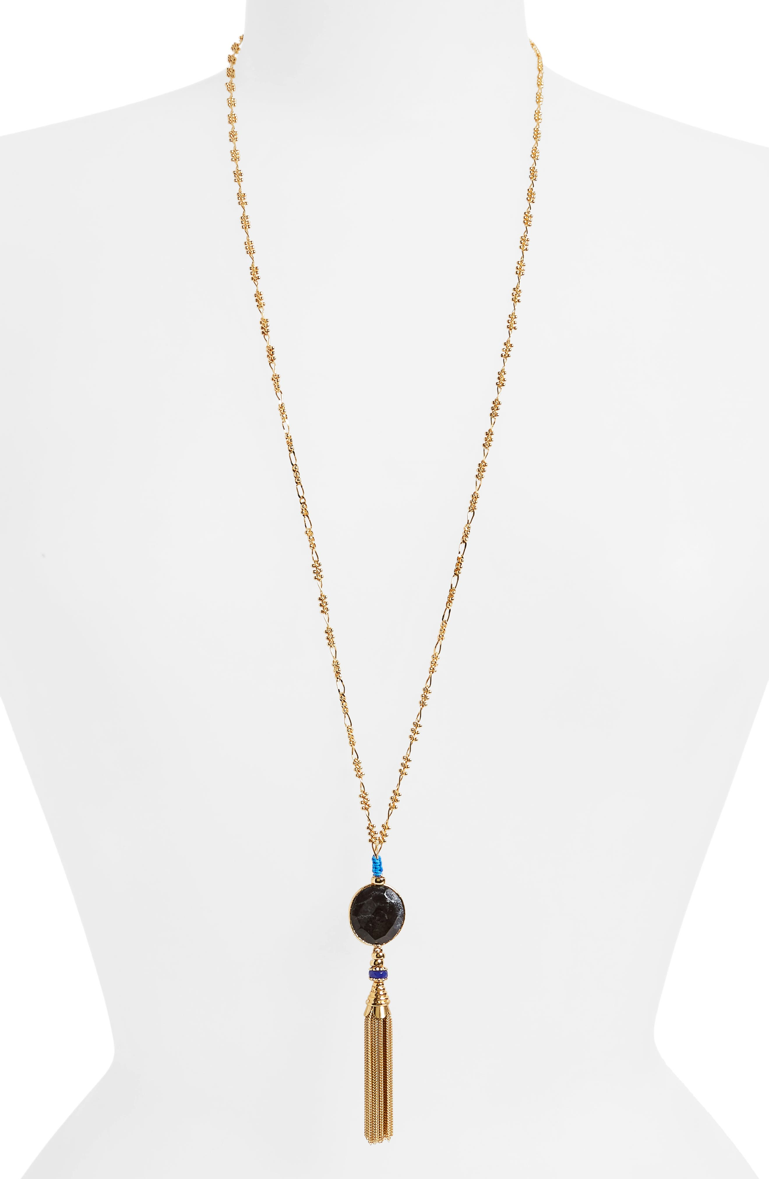Serti Long Tassel Necklace,                         Main,                         color, Black/ Gold