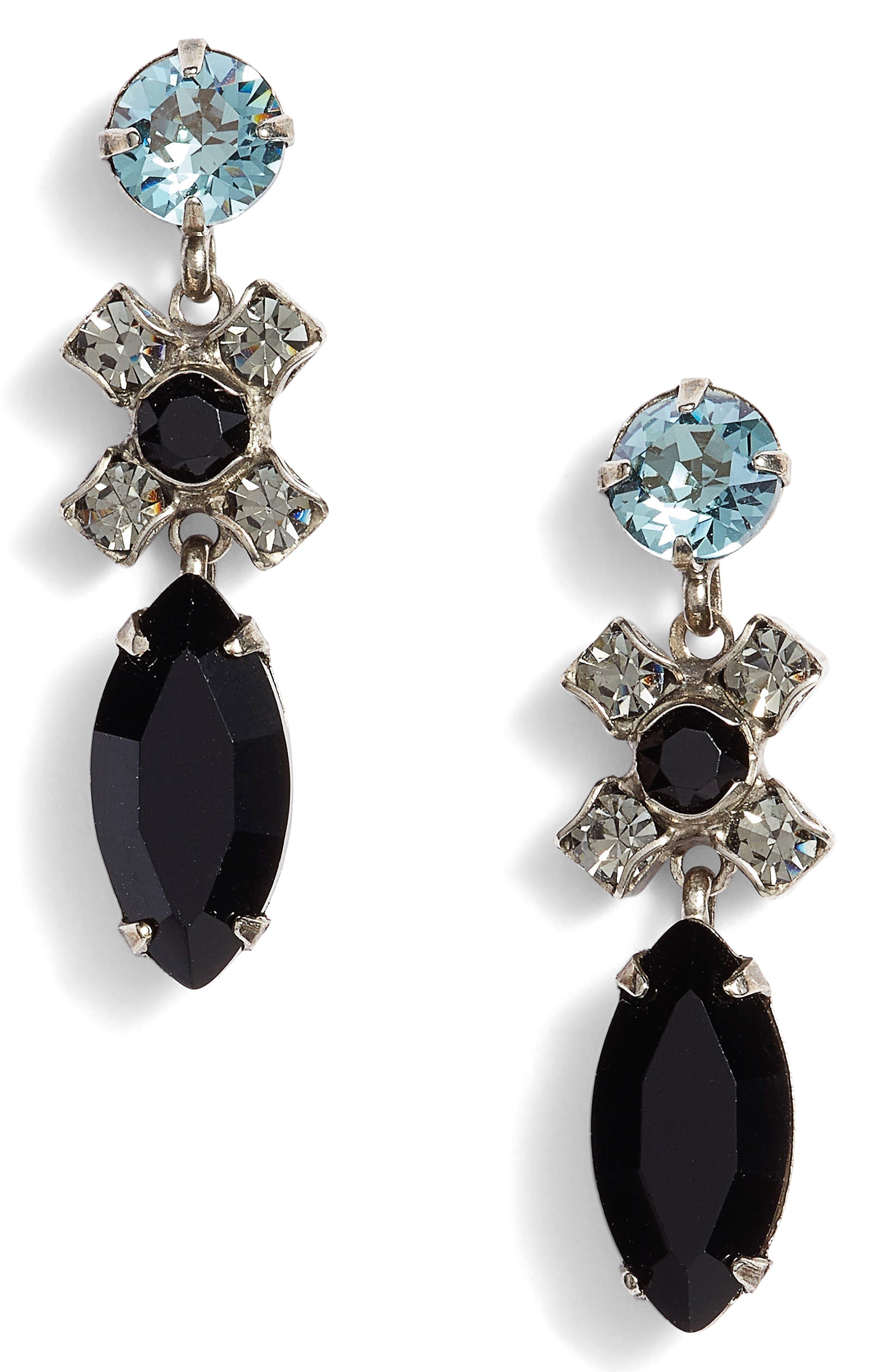 Perfect Harmony Crystal Drop Earrings,                         Main,                         color, Black