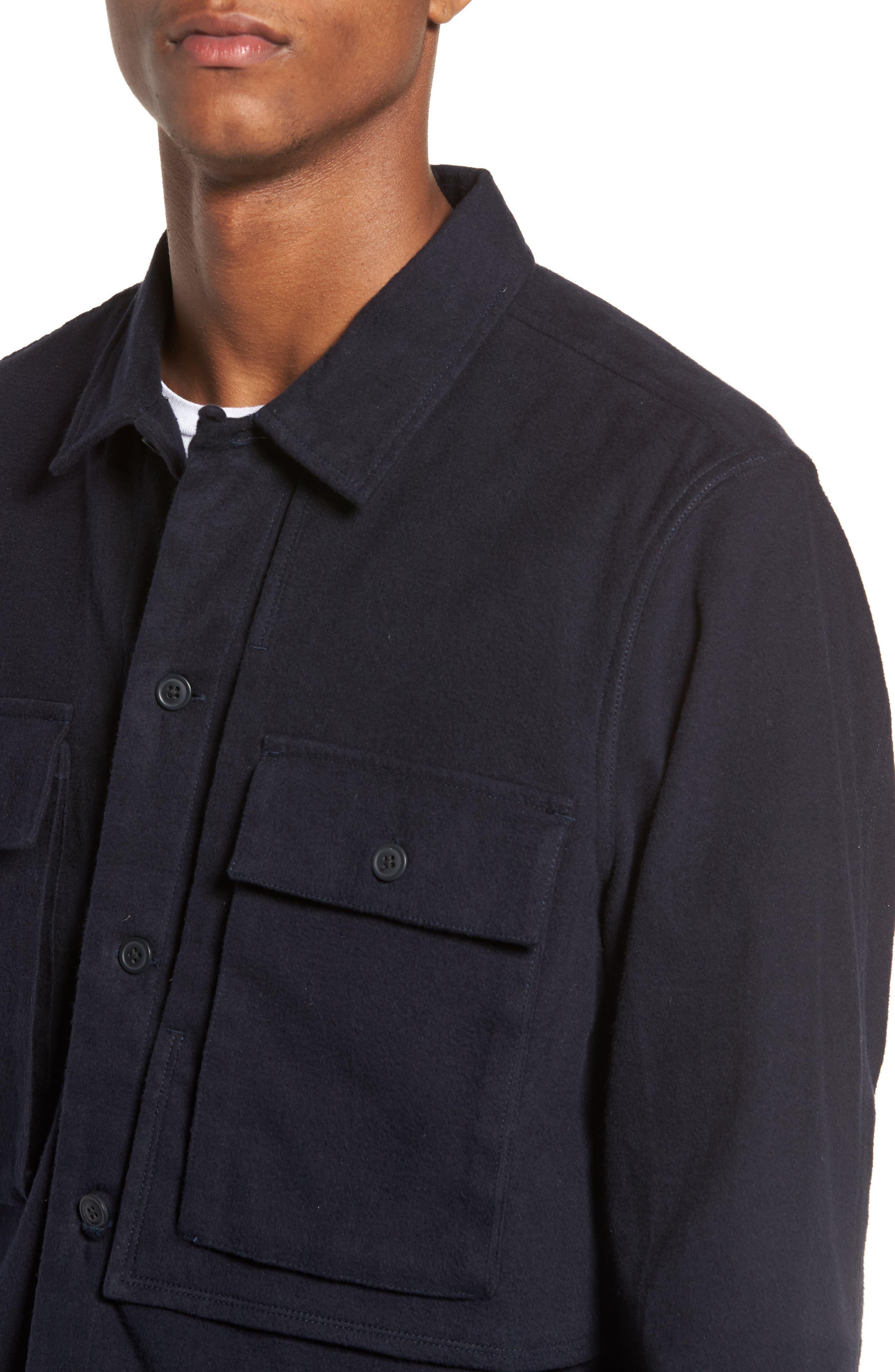Flannel Shirt Jacket,                             Alternate thumbnail 5, color,                             Navy Iris